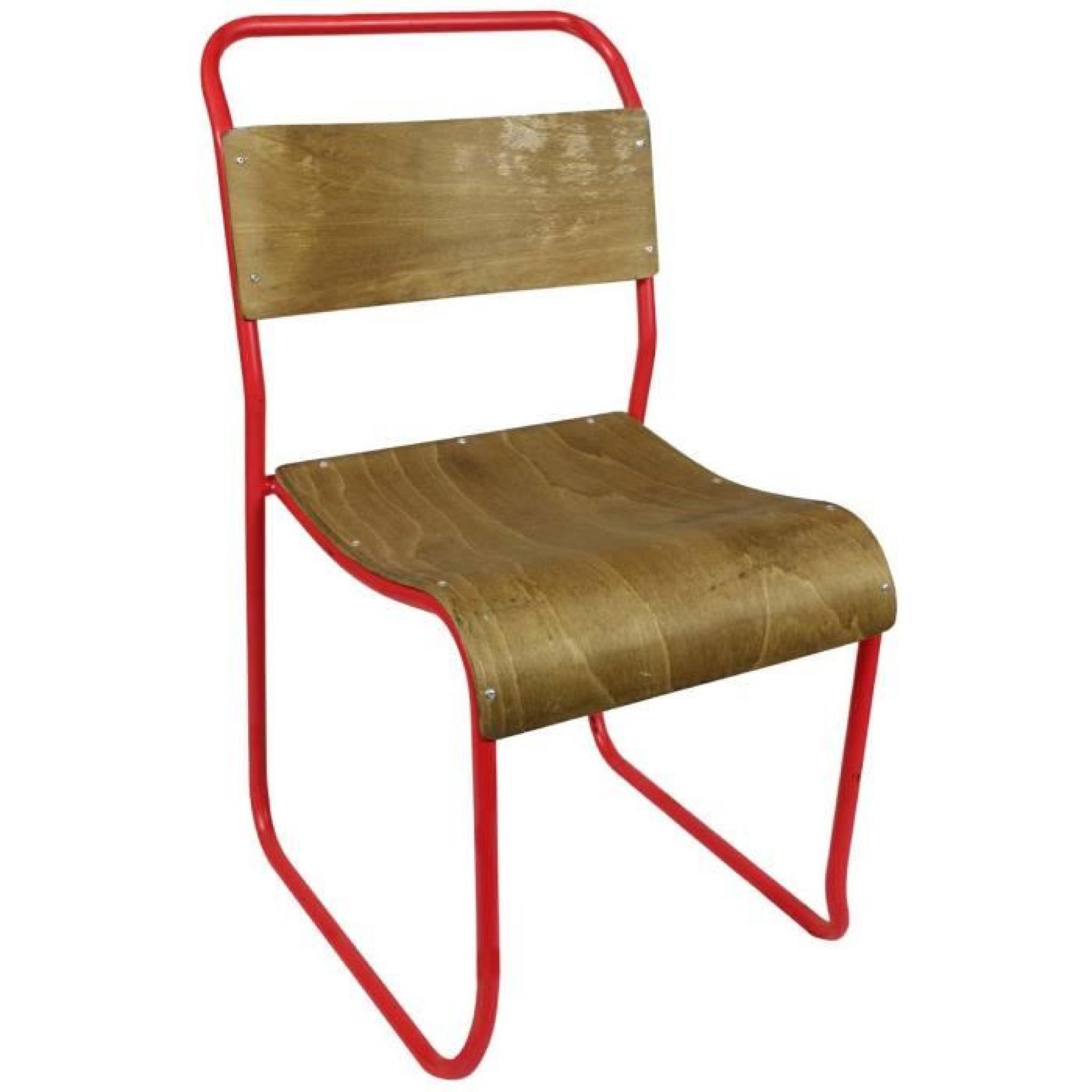 Chaise Vintage Bois Metal Avior Couleur Rouge