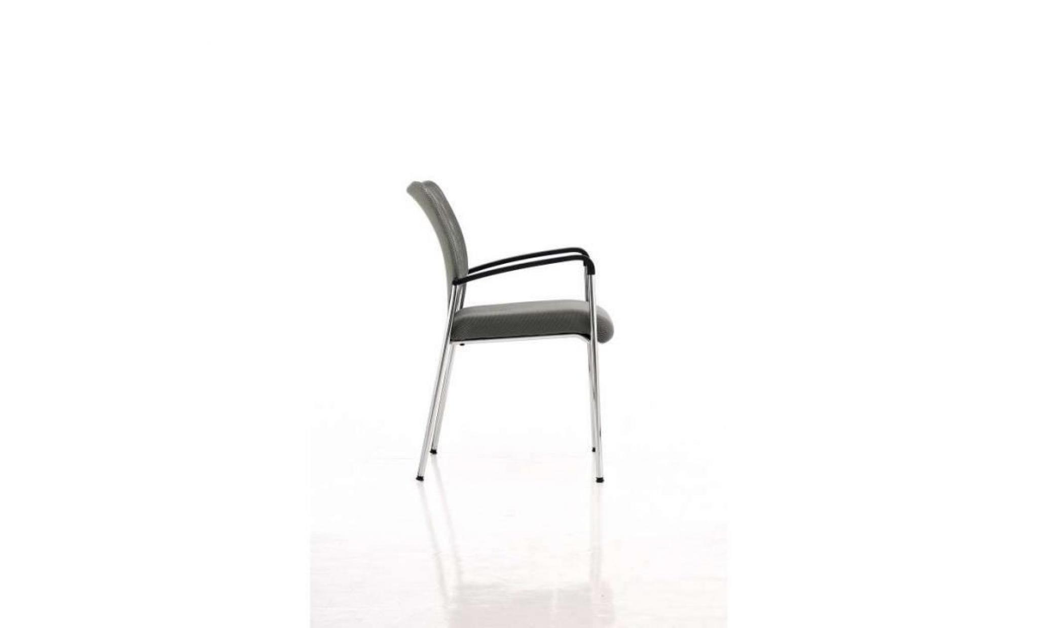 nouveau style 46a3e 8a4f9 chaise visiteur bureau gris pieds chromé avec accoudoir bur10032