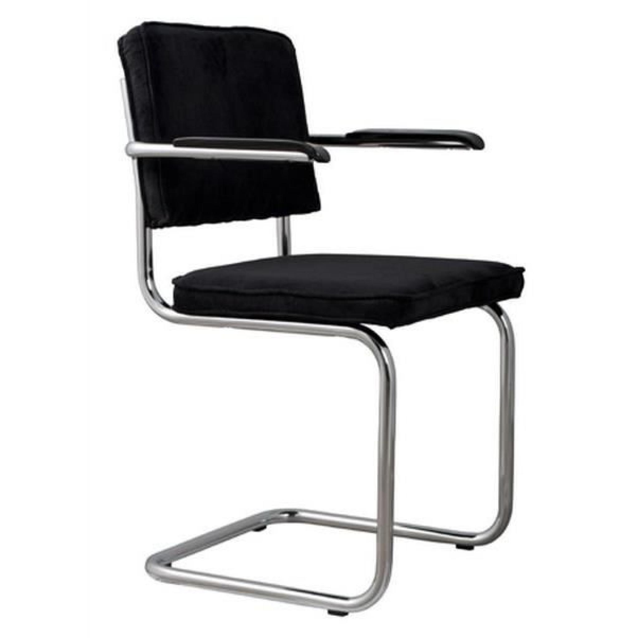 chaise zuiver ridge rib velours noir avec cadre achat vente chaise salle a manger pas cher. Black Bedroom Furniture Sets. Home Design Ideas