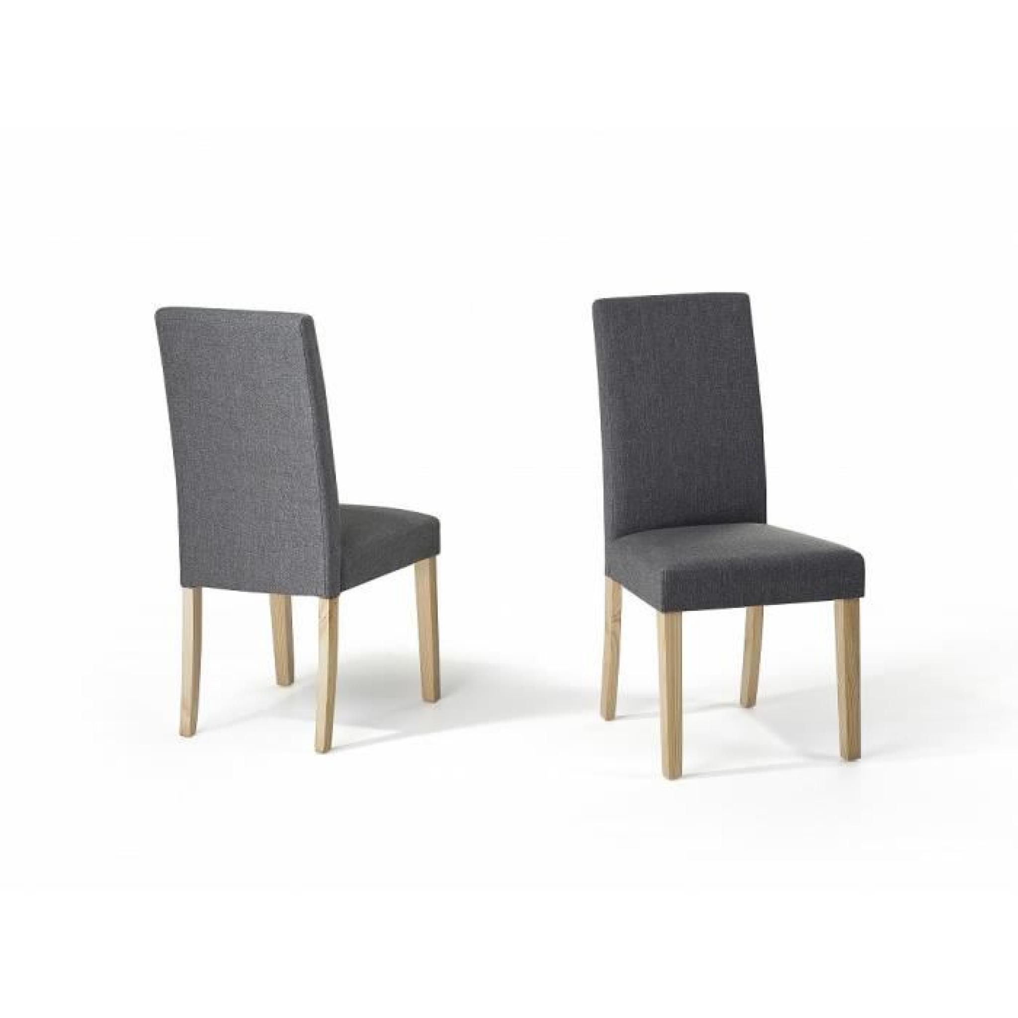 Chaises de salle  manger lot de 2 chaises en tissu gris