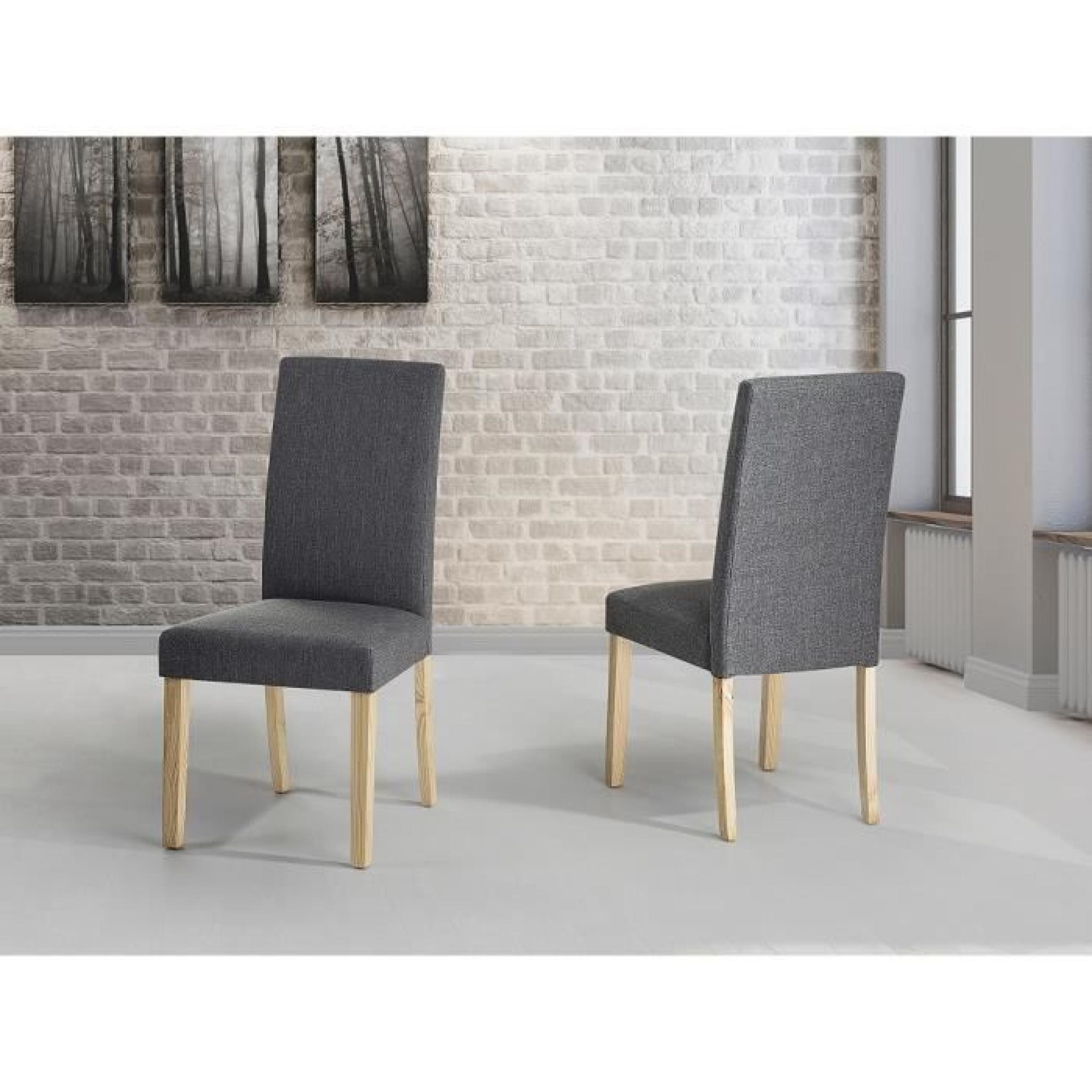 chaises de salle manger lot de 2 chaises en tissu gris broadway achat vente chaise. Black Bedroom Furniture Sets. Home Design Ideas