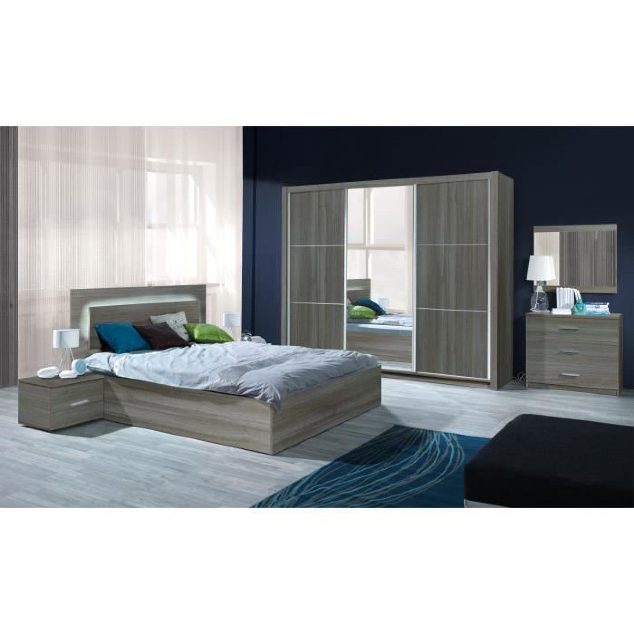 chambre coucher compl te adulte aurelio lit armoire chevets commode meuble design en. Black Bedroom Furniture Sets. Home Design Ideas