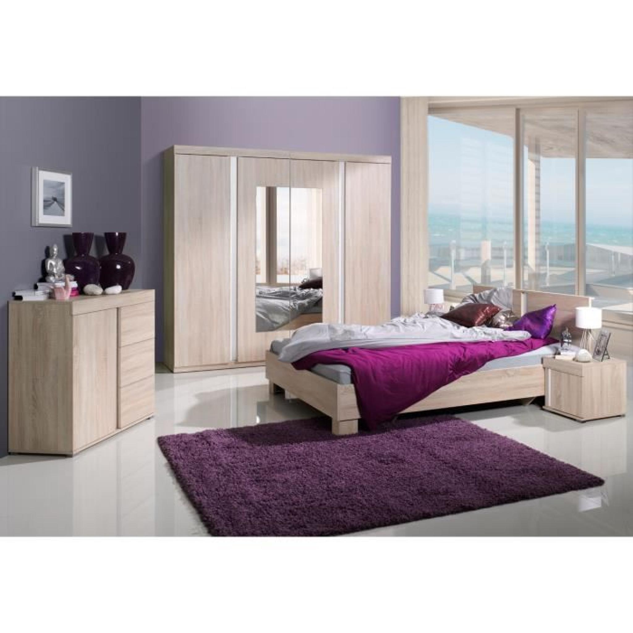 chambre coucher compl te adulte avignon lit armoire chevets commode meuble design en. Black Bedroom Furniture Sets. Home Design Ideas