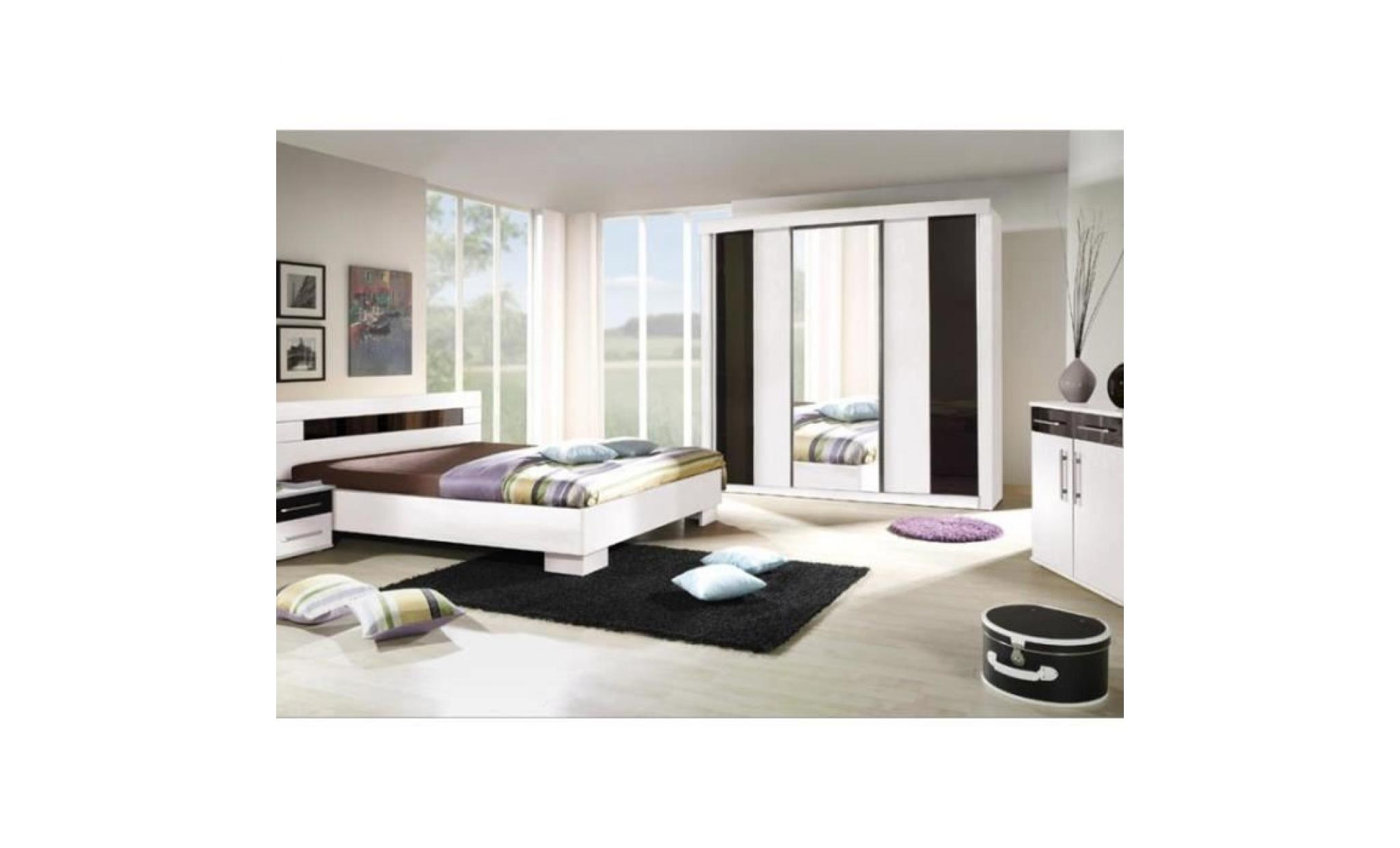 chambre coucher compl te dublin adulte design blanche lit 140x190 cm armoire commode 2. Black Bedroom Furniture Sets. Home Design Ideas