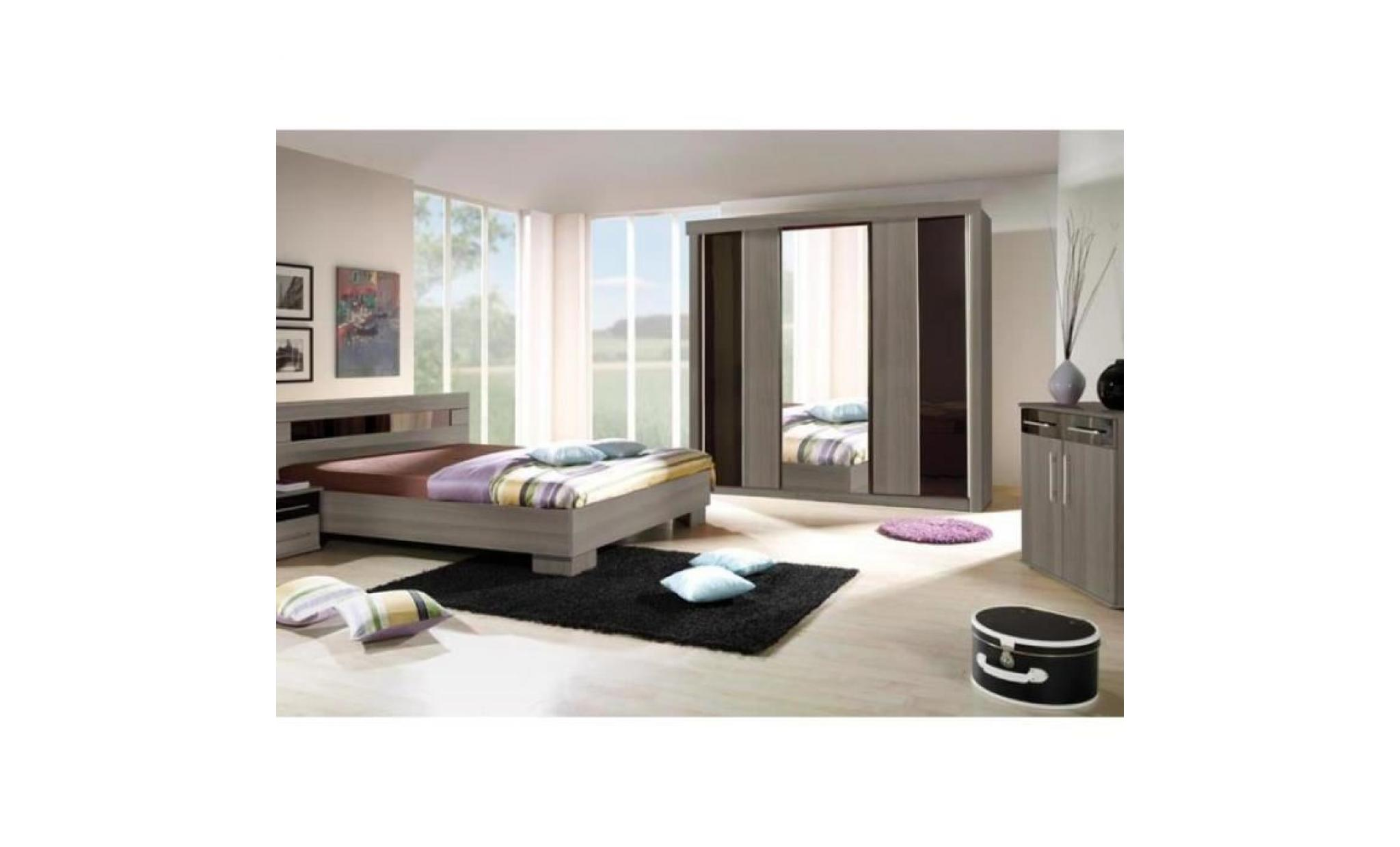 Chambre à coucher complète DUBLIN adulte design. Lit 180x200 cm + armoire +  commode + 2 chevets