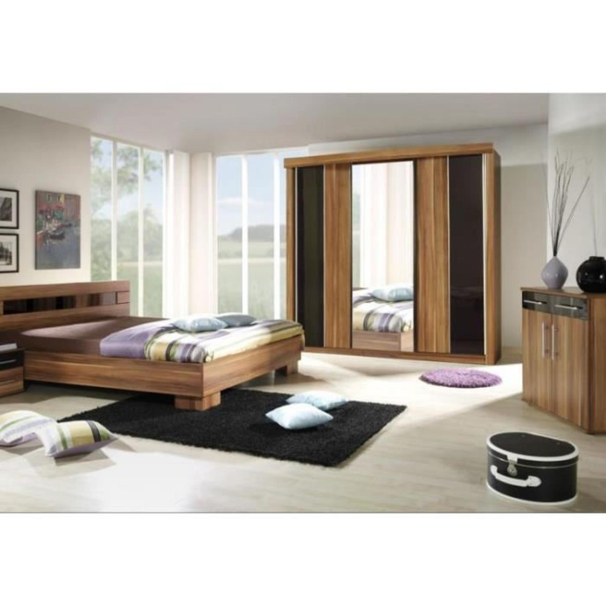 chambre coucher compl te dublin adulte design noyer lit 180x200 cm armoire commode 2. Black Bedroom Furniture Sets. Home Design Ideas