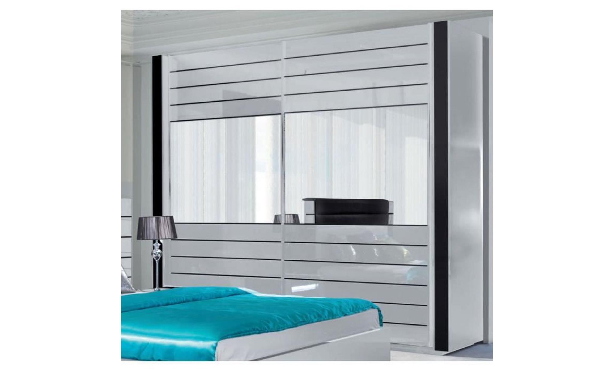 Chambre coucher compl te lina blanche et noire laqu e for Meuble complet chambre