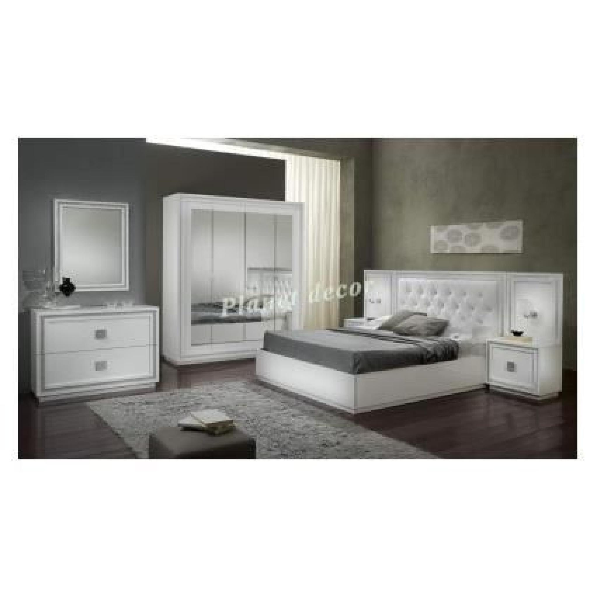 chambre coucher complete model kristel blanc achat. Black Bedroom Furniture Sets. Home Design Ideas