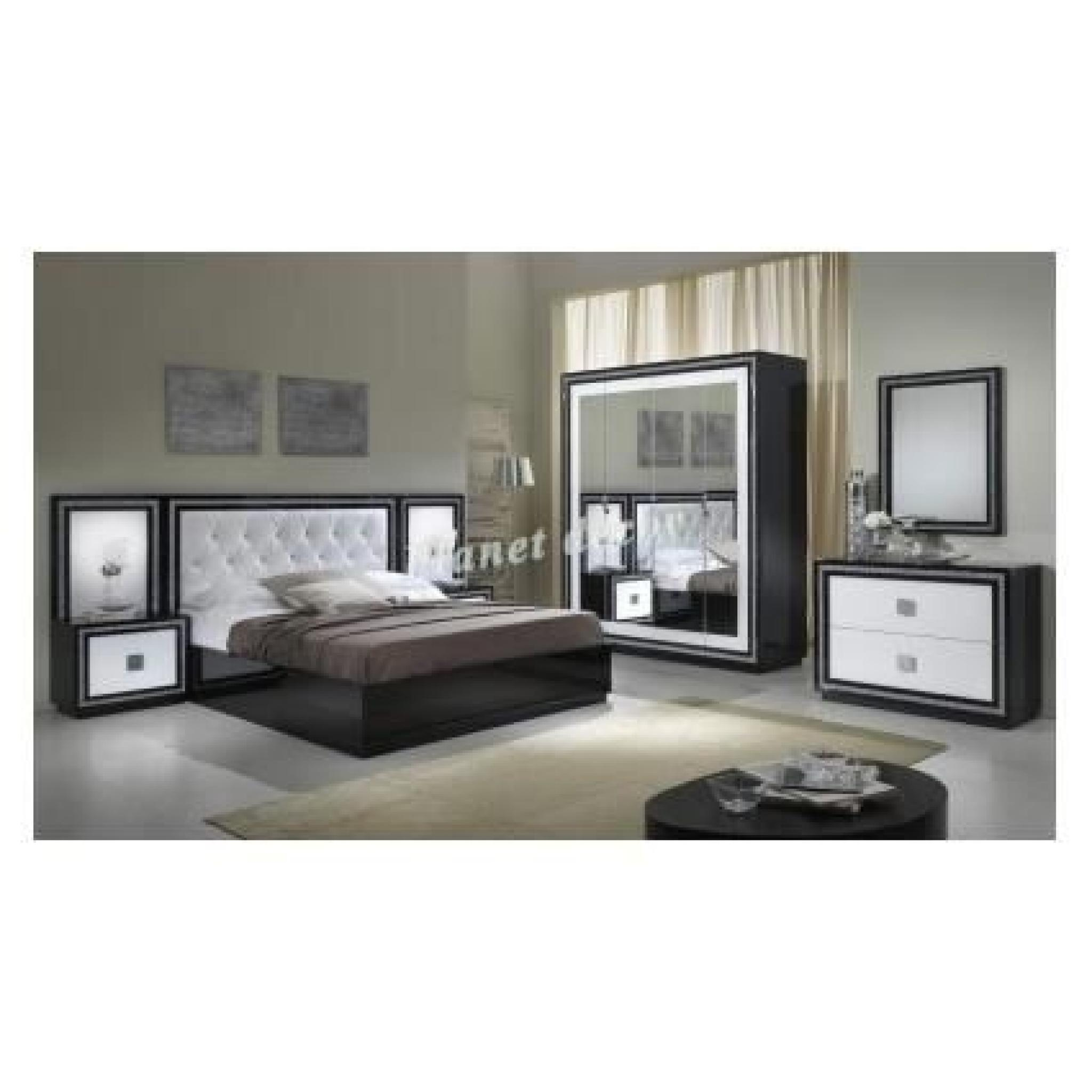 Chambre coucher complete model kristel noir blanc for Achat chambre a coucher complete