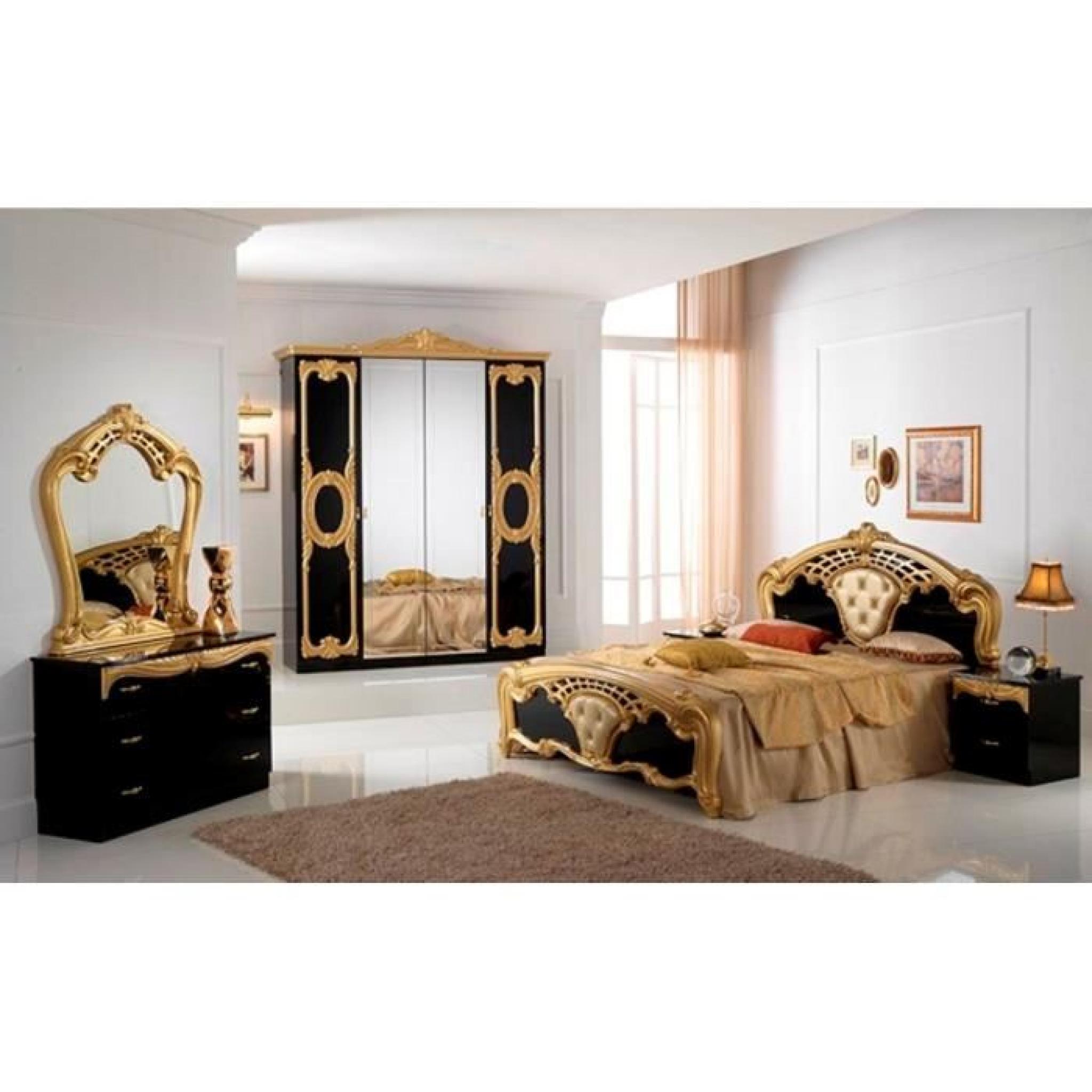 Chambre a coucher complete modele cristina noir brillant for Achat chambre a coucher complete