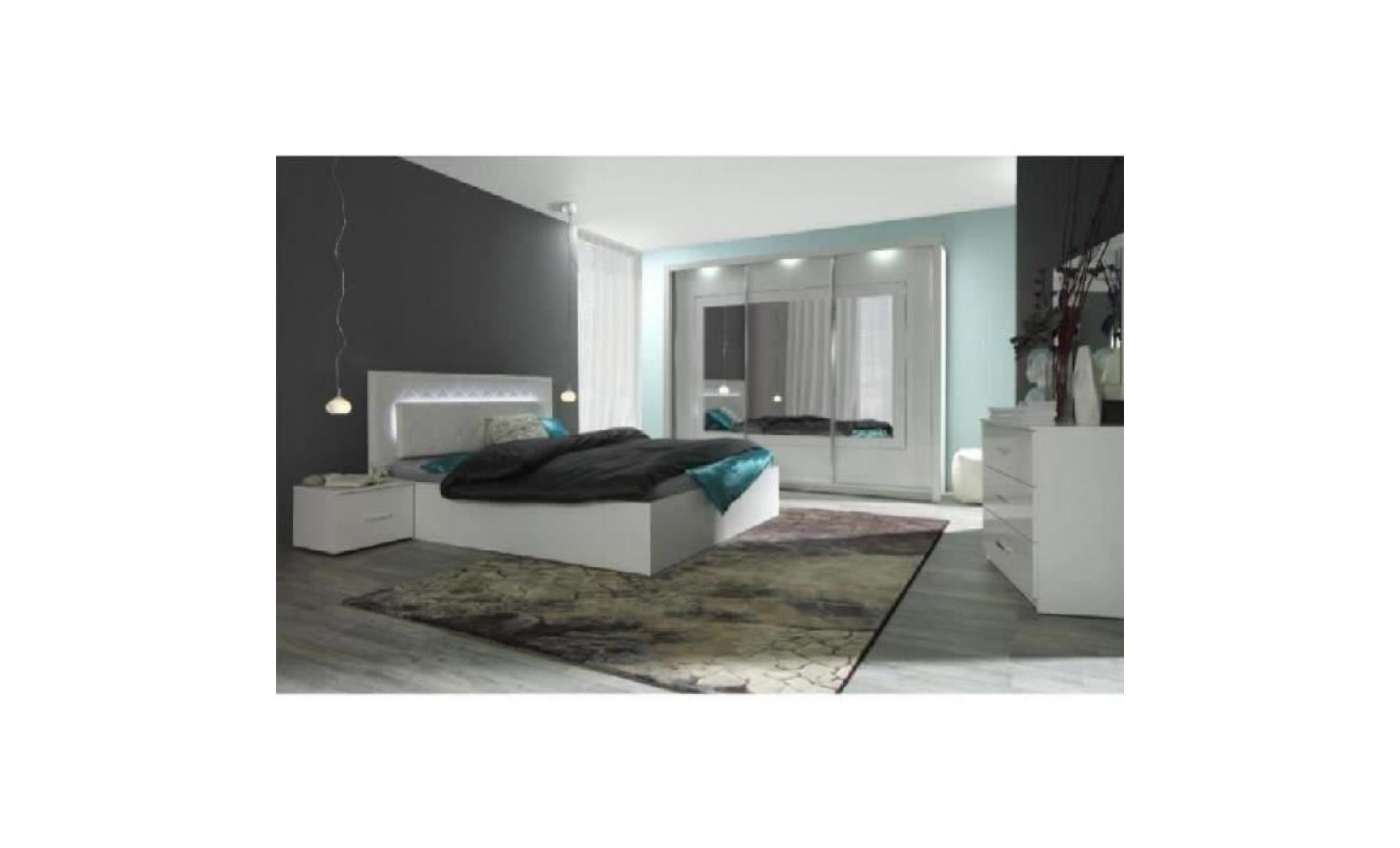chambre coucher compl te panarea led laqu e achat vente chambre complete pas cher. Black Bedroom Furniture Sets. Home Design Ideas