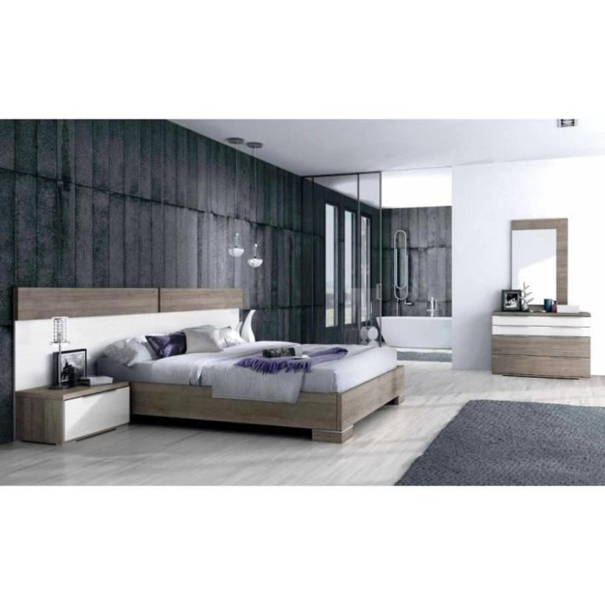 chambre coucher contemporaine 160 x 190 cm achat vente chambre complete pas cher couleur. Black Bedroom Furniture Sets. Home Design Ideas