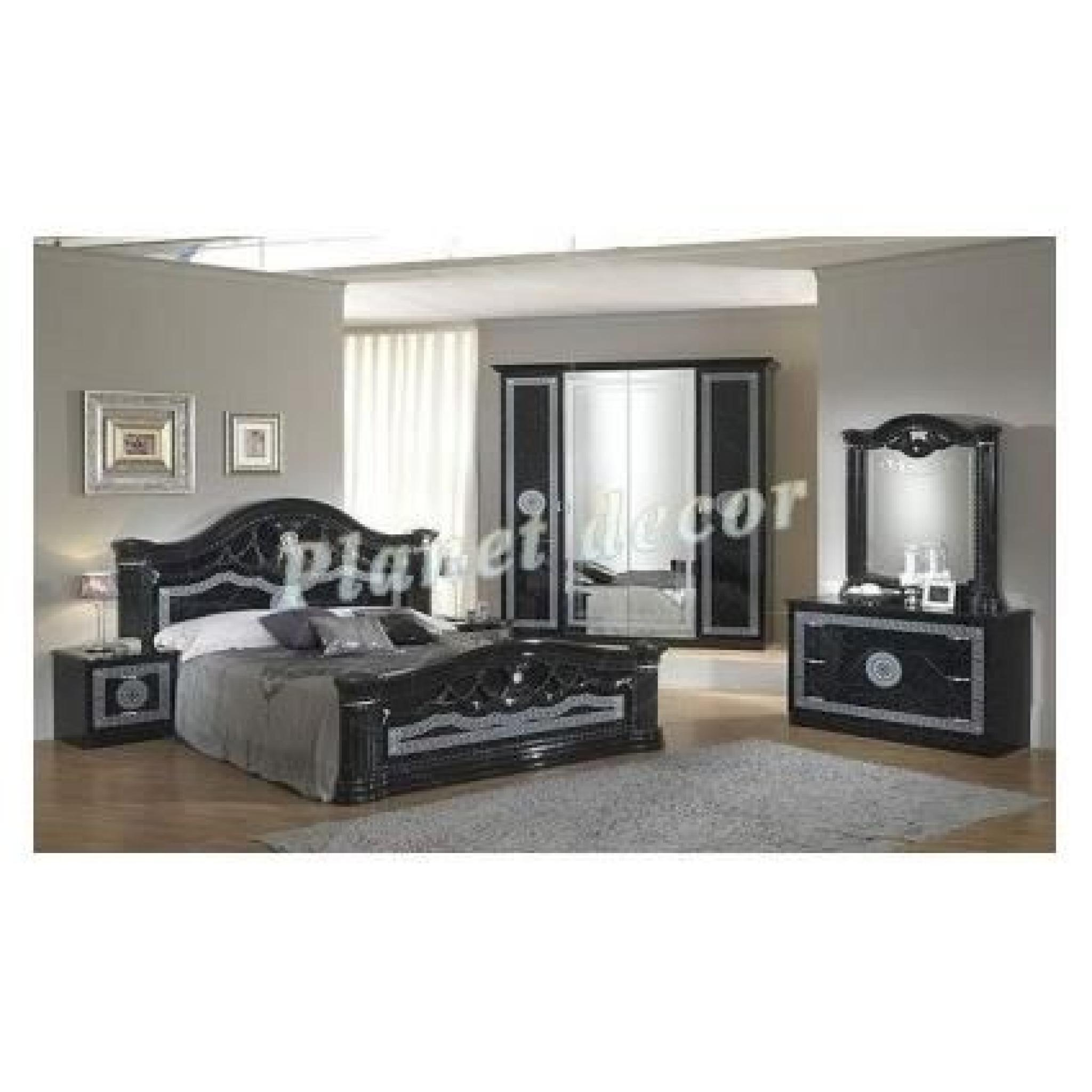 chambre coucher model serena noir armoire 6 portes. Black Bedroom Furniture Sets. Home Design Ideas