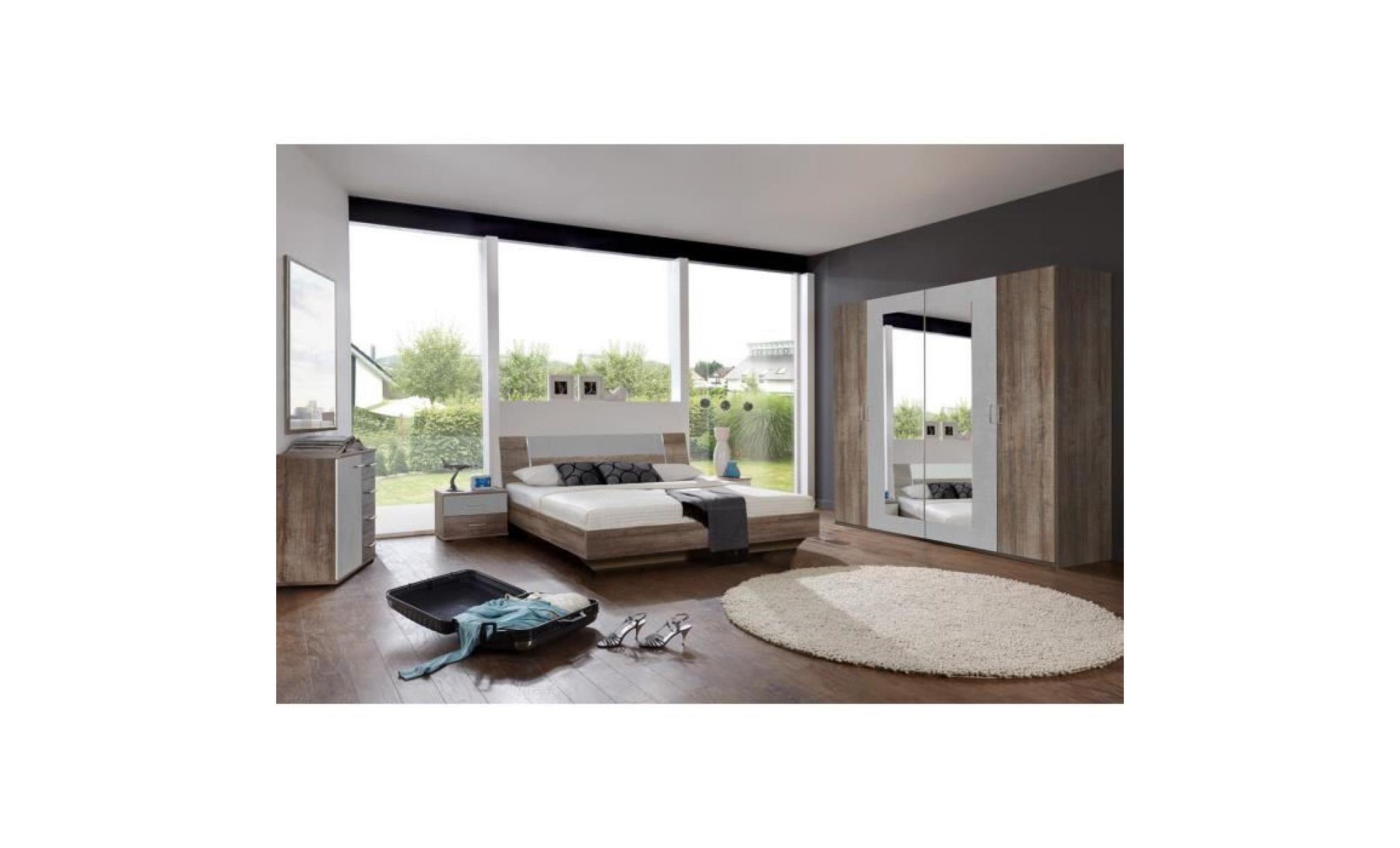chambre adulte complète, imitation chêne chataigne, rechampis teinte béton  gris clair dim : 160 x 200 cm