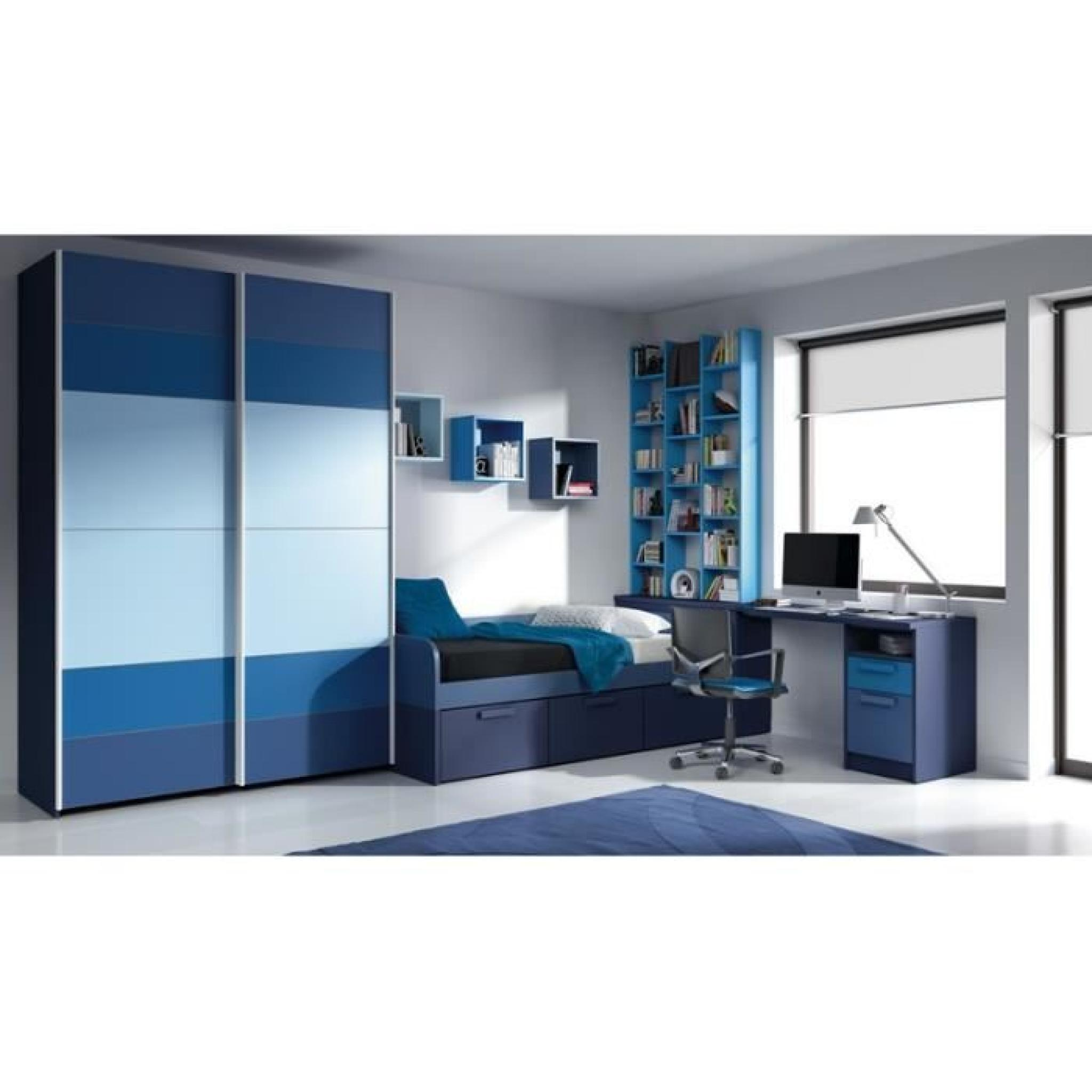 chambre alia grand bleu lit bureau et armoire achat. Black Bedroom Furniture Sets. Home Design Ideas