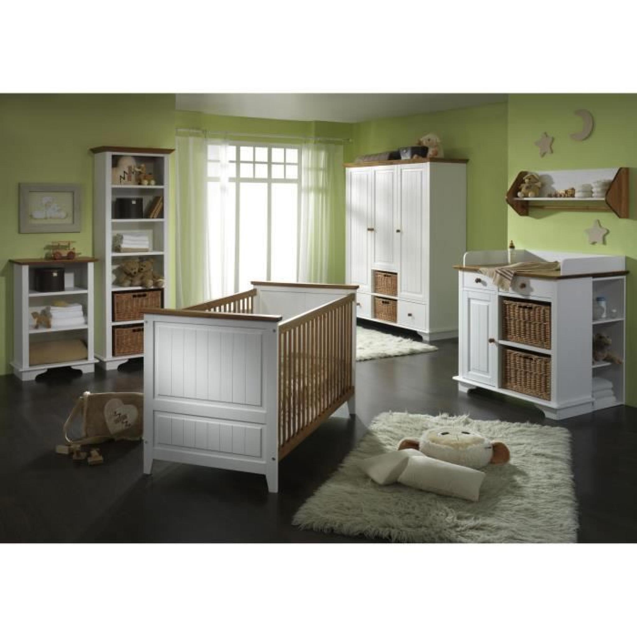 chambre b b compl te julia en pin massif blanc achat vente chambre complete pas cher. Black Bedroom Furniture Sets. Home Design Ideas