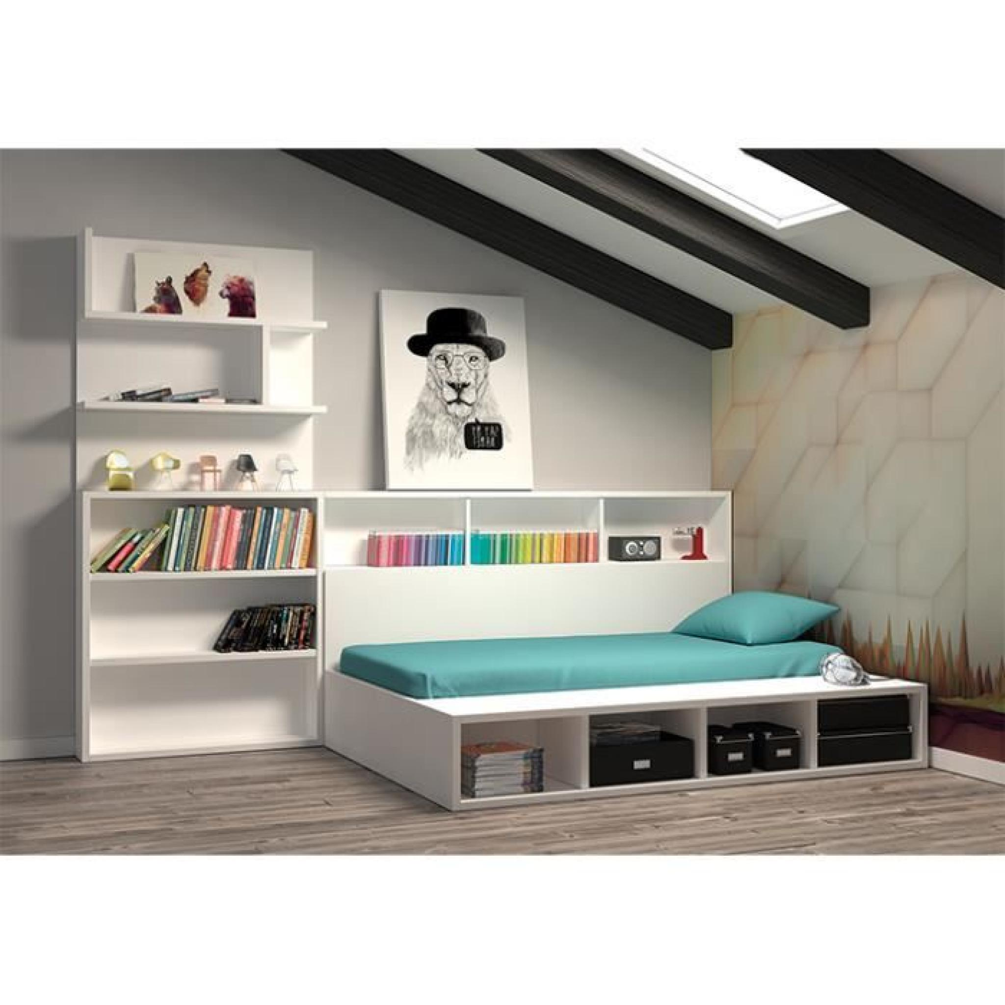 Chambre edmond lit coffre avec biblioth que achat vente for Bibliotheque chambre