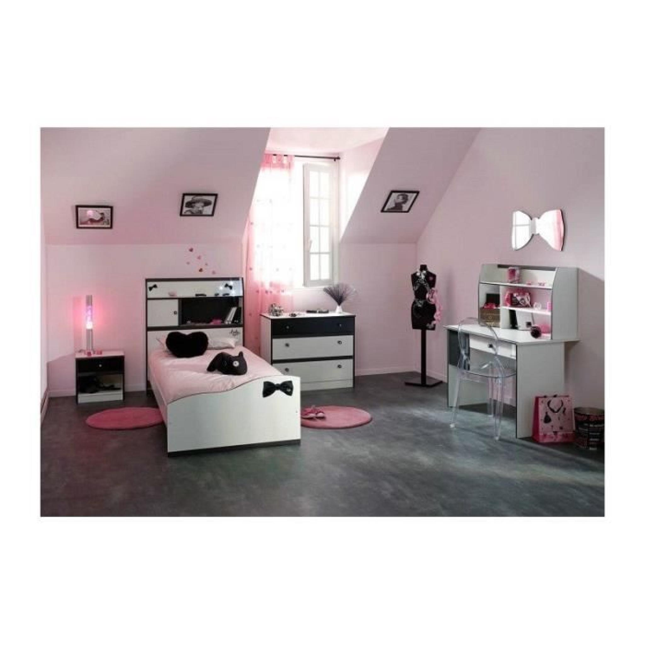 Chambre Fille avec bureau DISCO Noire et Blanche - Achat/Vente ...