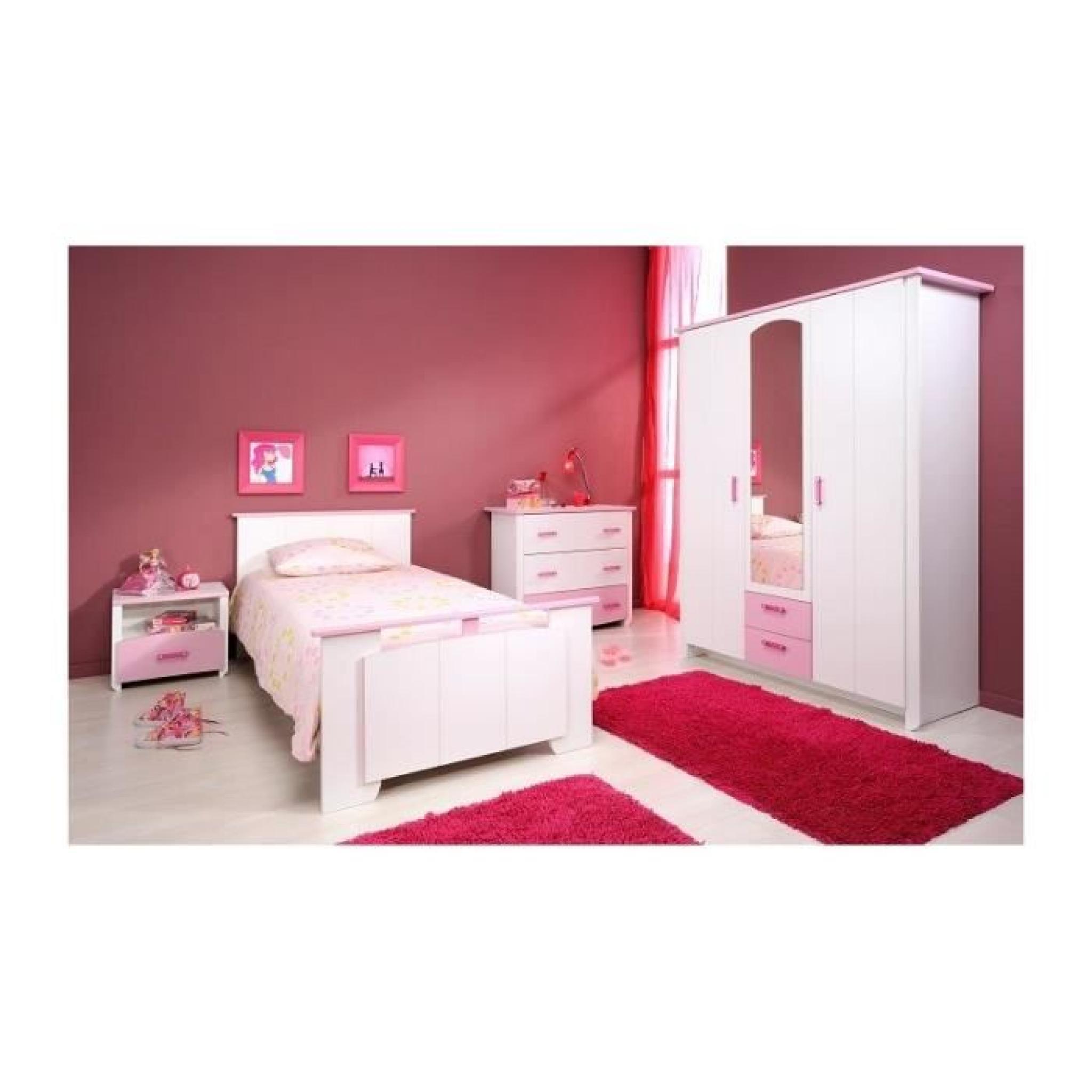 Chambre Fille Blanche Et Rose Avec Armoire 3 Portes CANDY