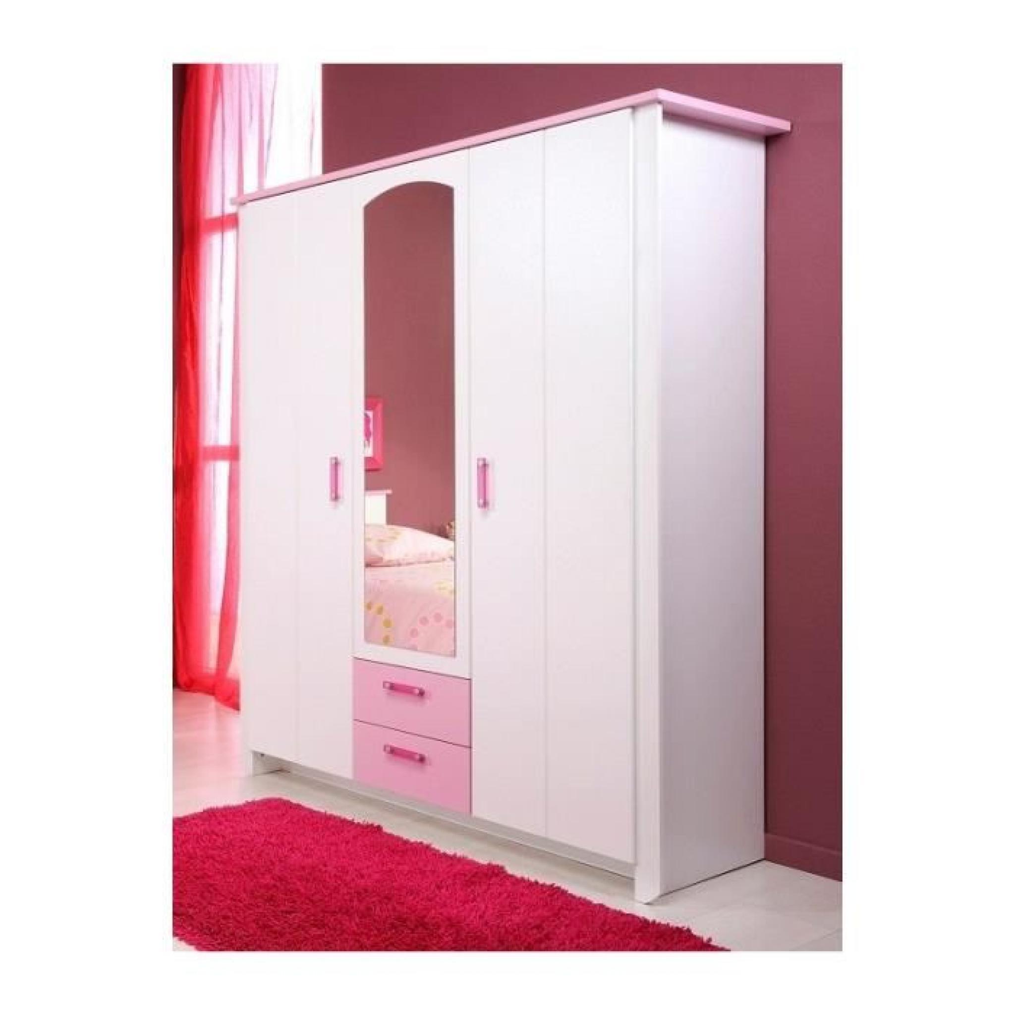 Chambre Fille Blanche Et Rose Avec Armoire 3 Portes CANDY Pas Cher