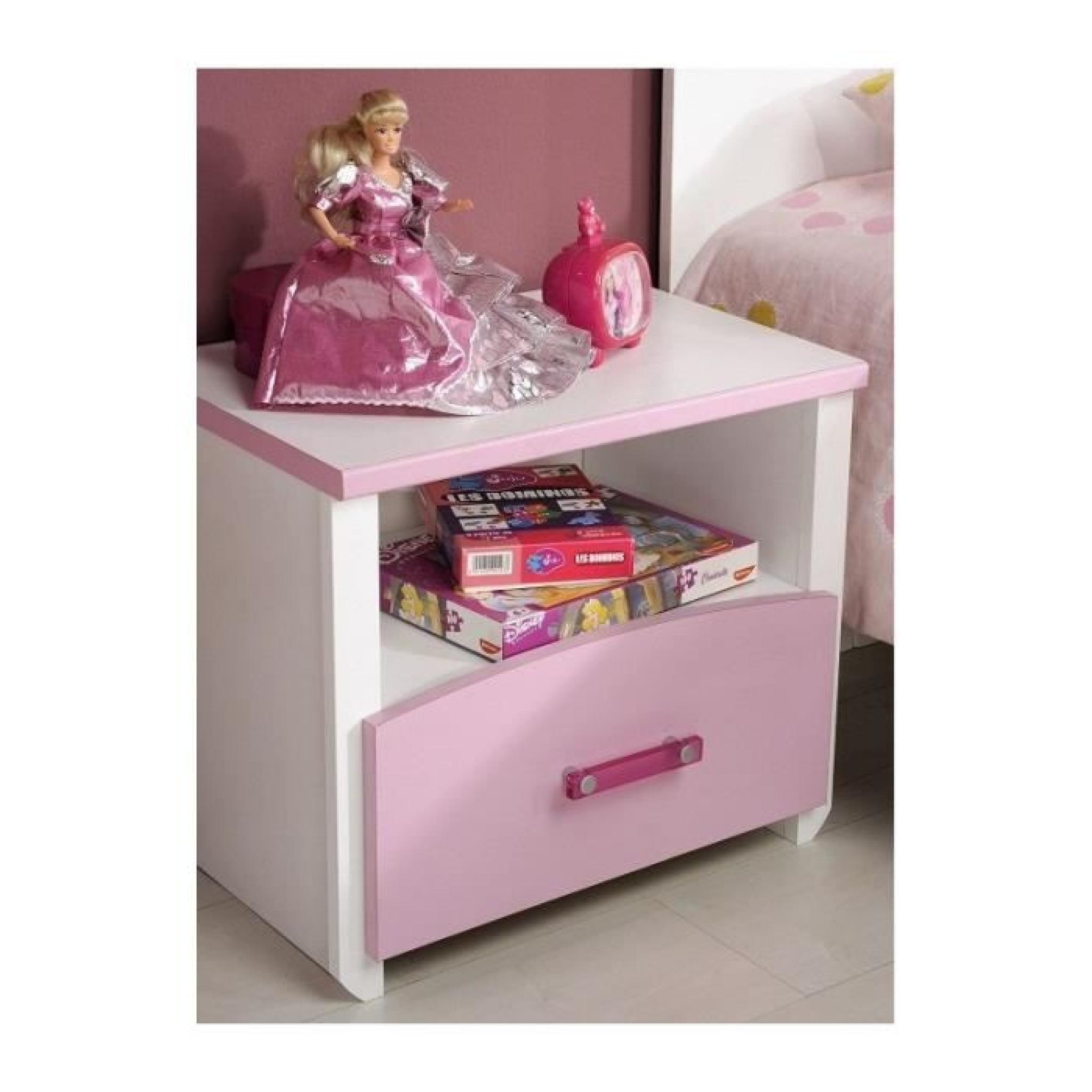 chambre fille blanche et rose avec armoire 3 portes candy. Black Bedroom Furniture Sets. Home Design Ideas