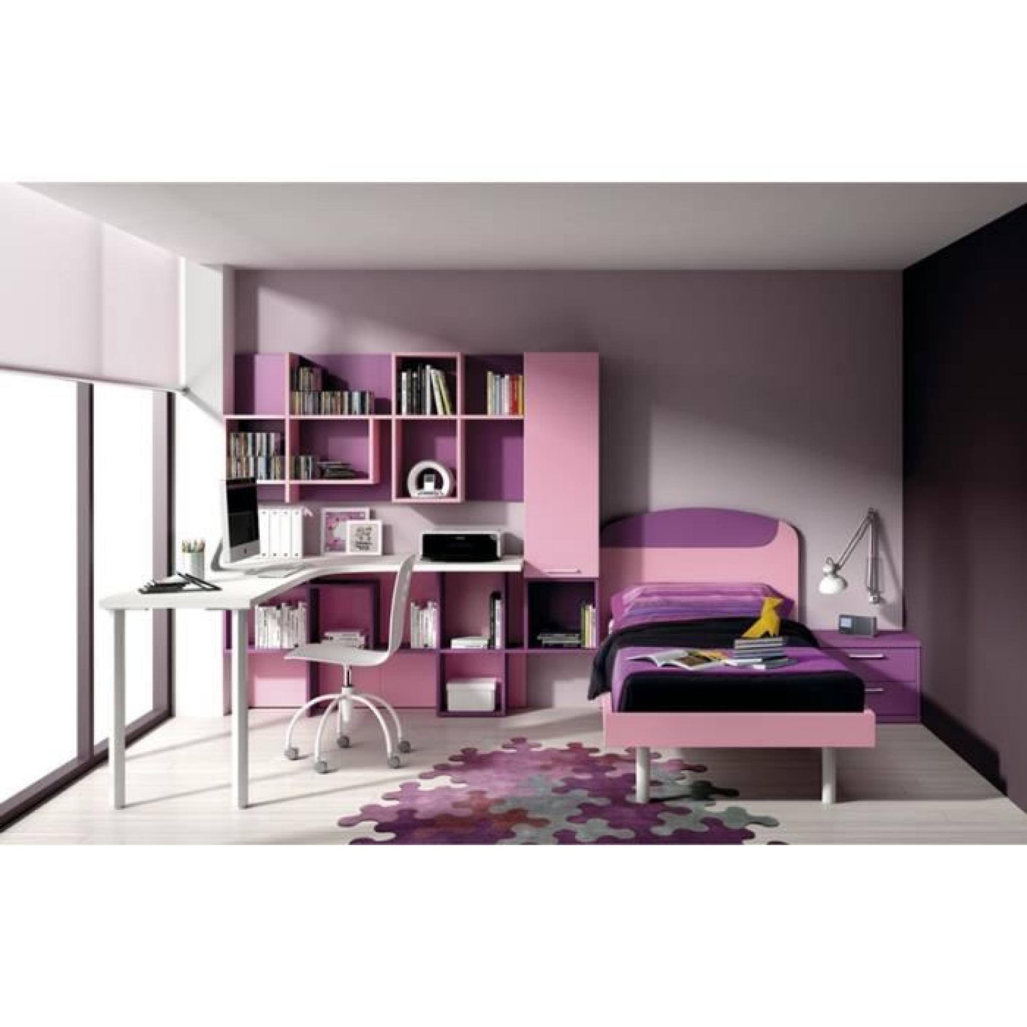 chambre lina avec lit bureau et biblioth que achat. Black Bedroom Furniture Sets. Home Design Ideas
