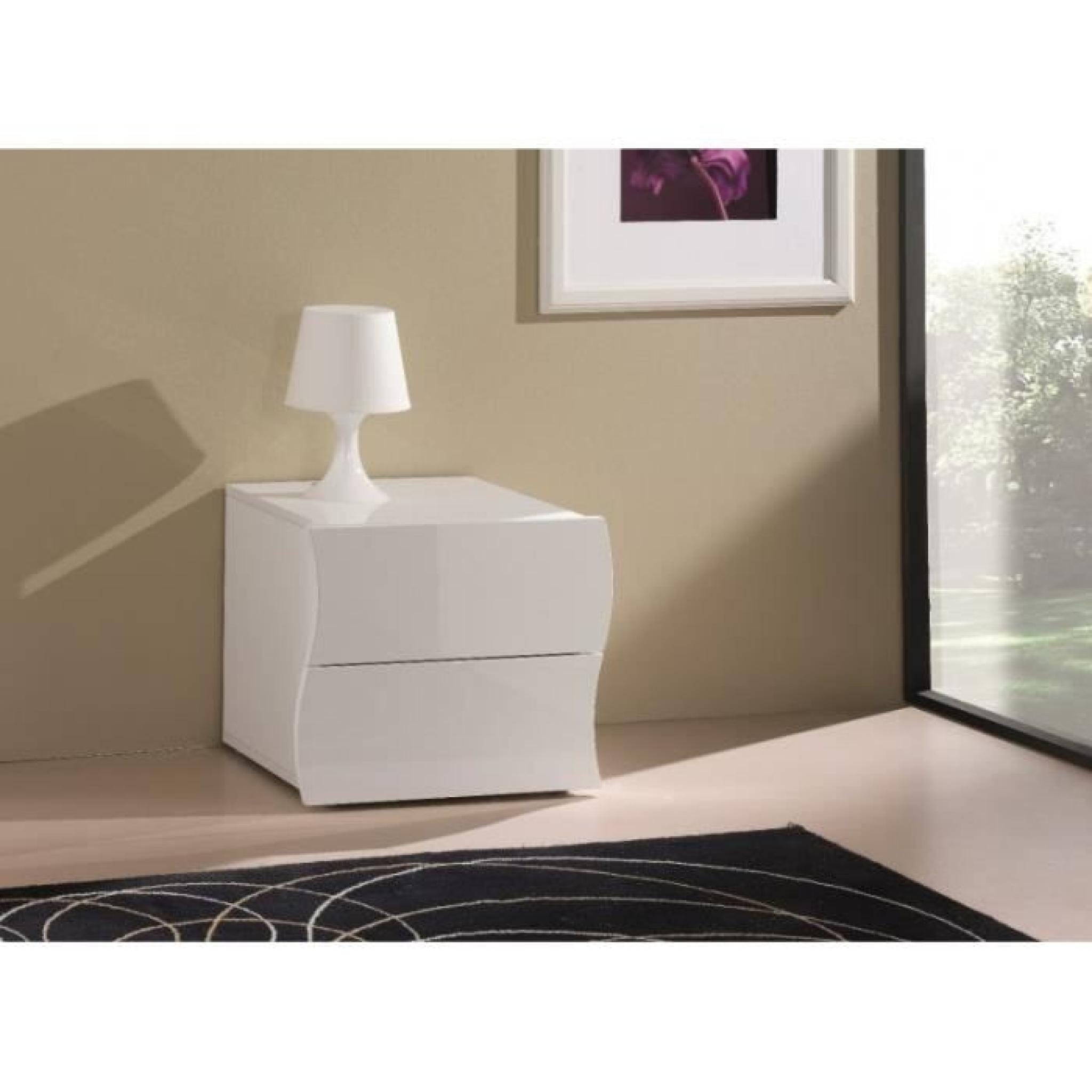 Chevet 2 tiroirs onda nanetto blanc brillant achat vente table de chevet pa - Table de chevet design laque blanc ...