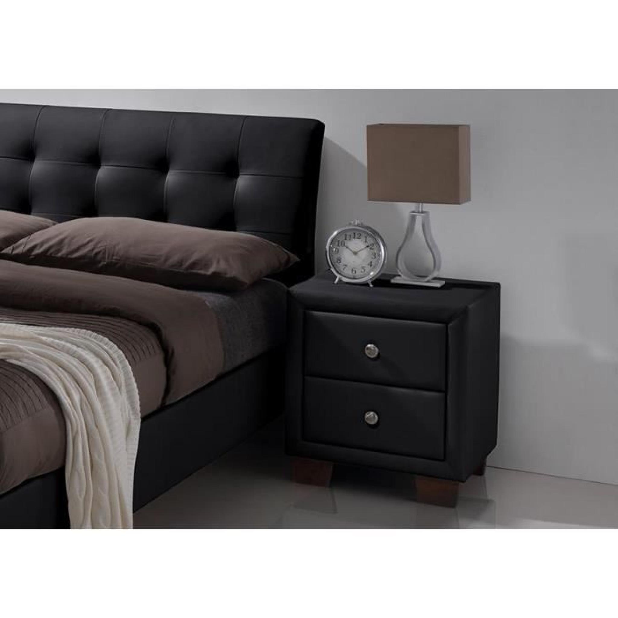 chevet 2 tiroirs simili noir samara 50 cm achat vente table de chevet pas cher couleur et. Black Bedroom Furniture Sets. Home Design Ideas