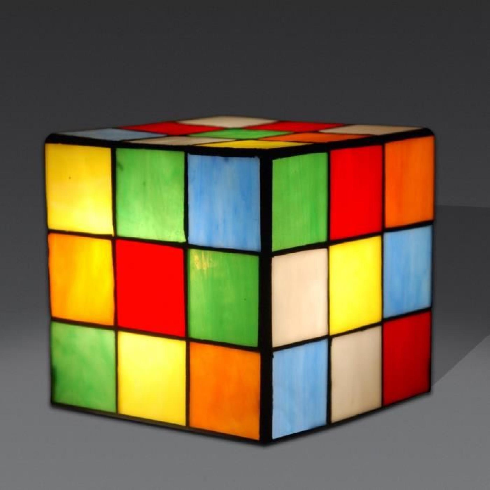 chevet cube rubik lampe de chevet avec abat-jour de verre soudé de