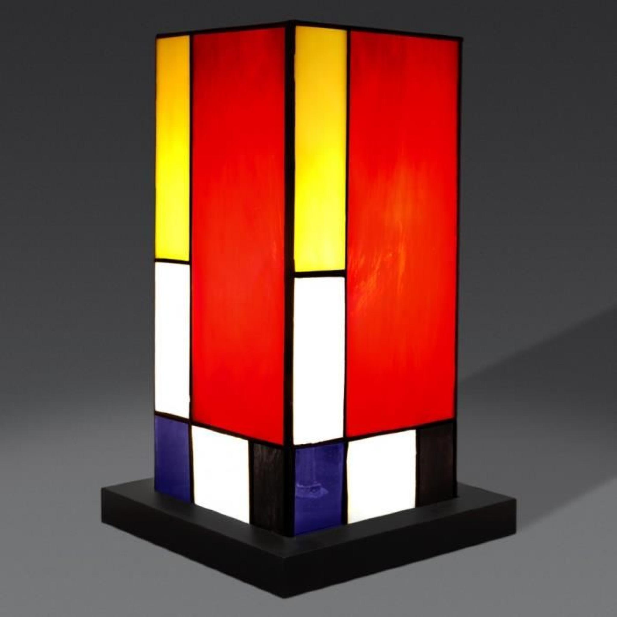 chevet mondrian a colonne lampe de chevet avec abat jour de verre soud de style tiffany et base. Black Bedroom Furniture Sets. Home Design Ideas