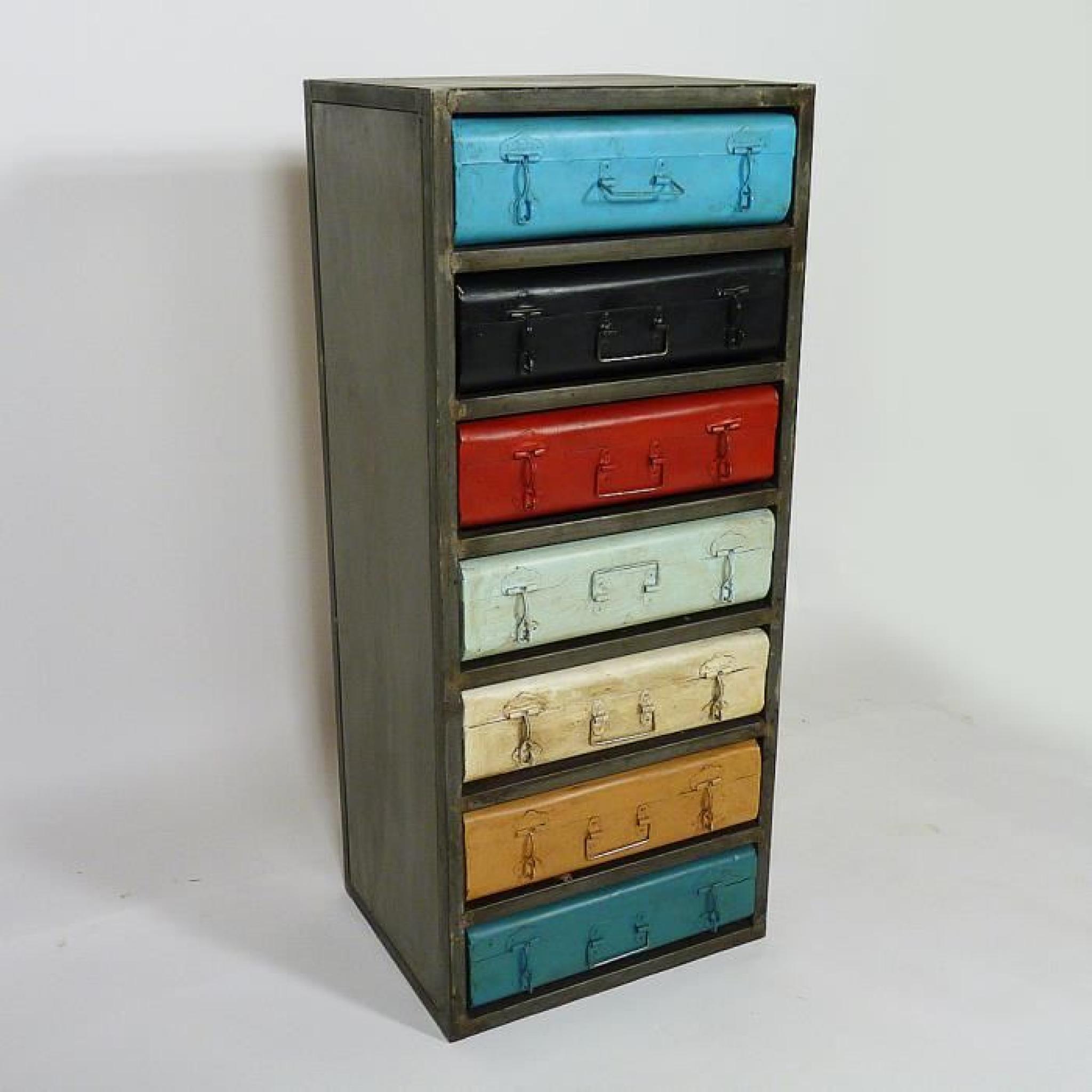 chiffonnier metal voyageur couleur achat vente commode pas cher couleur et. Black Bedroom Furniture Sets. Home Design Ideas