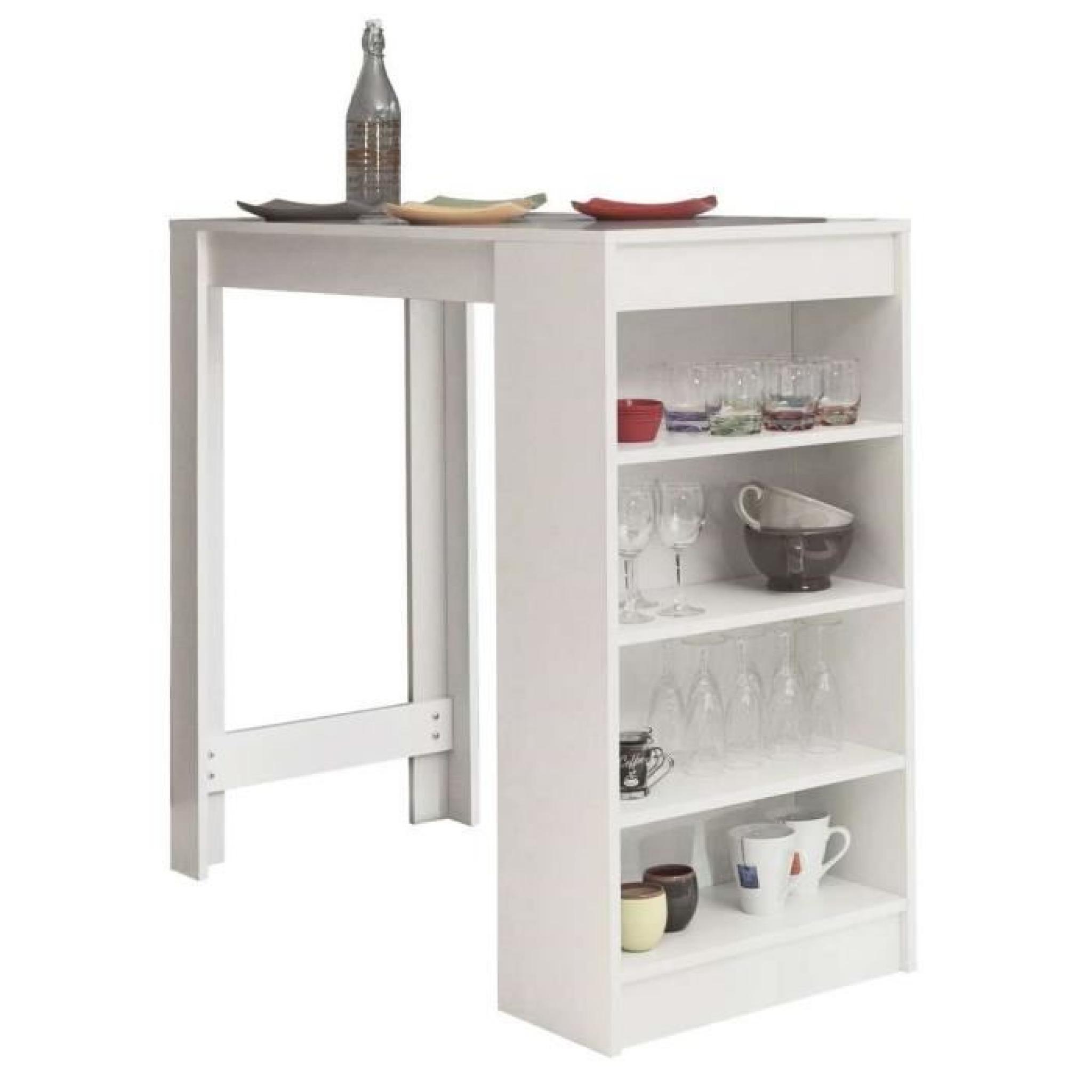 chili table bar avec rangements lat raux blanc achat vente table salle a manger pas cher. Black Bedroom Furniture Sets. Home Design Ideas