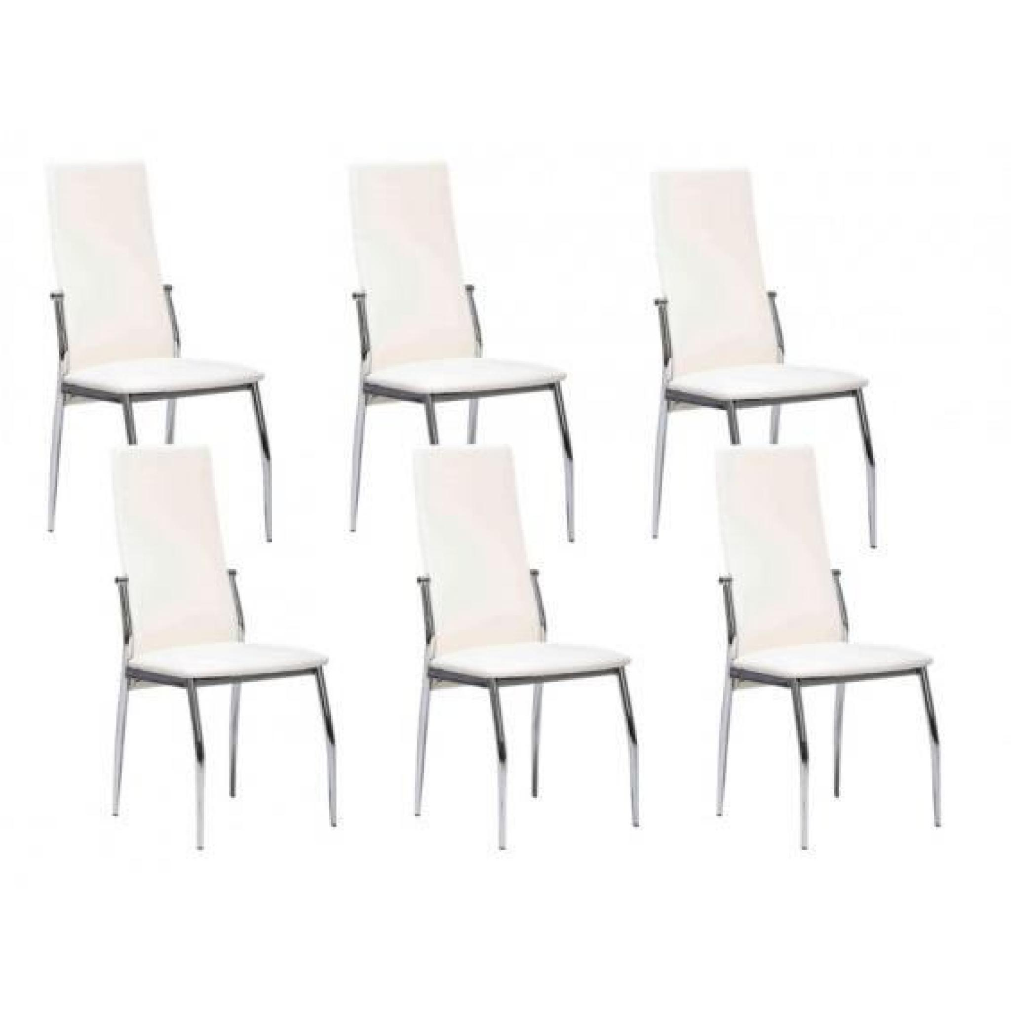 city lot 6 chaises blanches achat vente chaise salle a manger pas cher couleur et. Black Bedroom Furniture Sets. Home Design Ideas