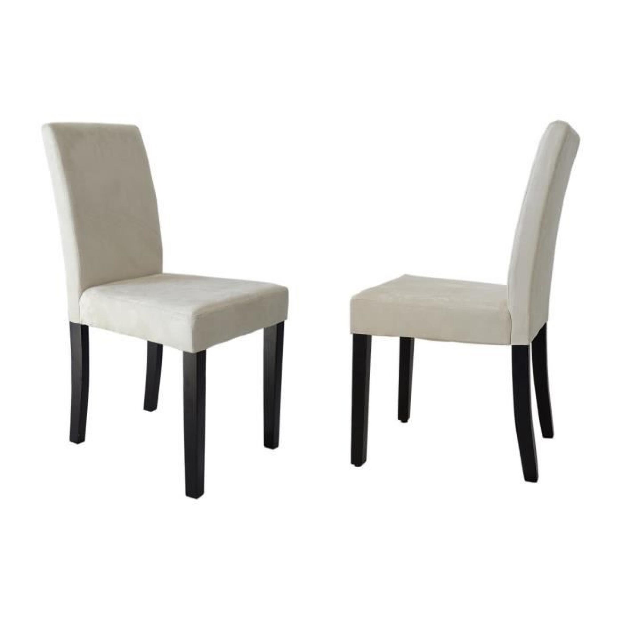 clara lot de 2 chaises de salle manger en tissu couleur
