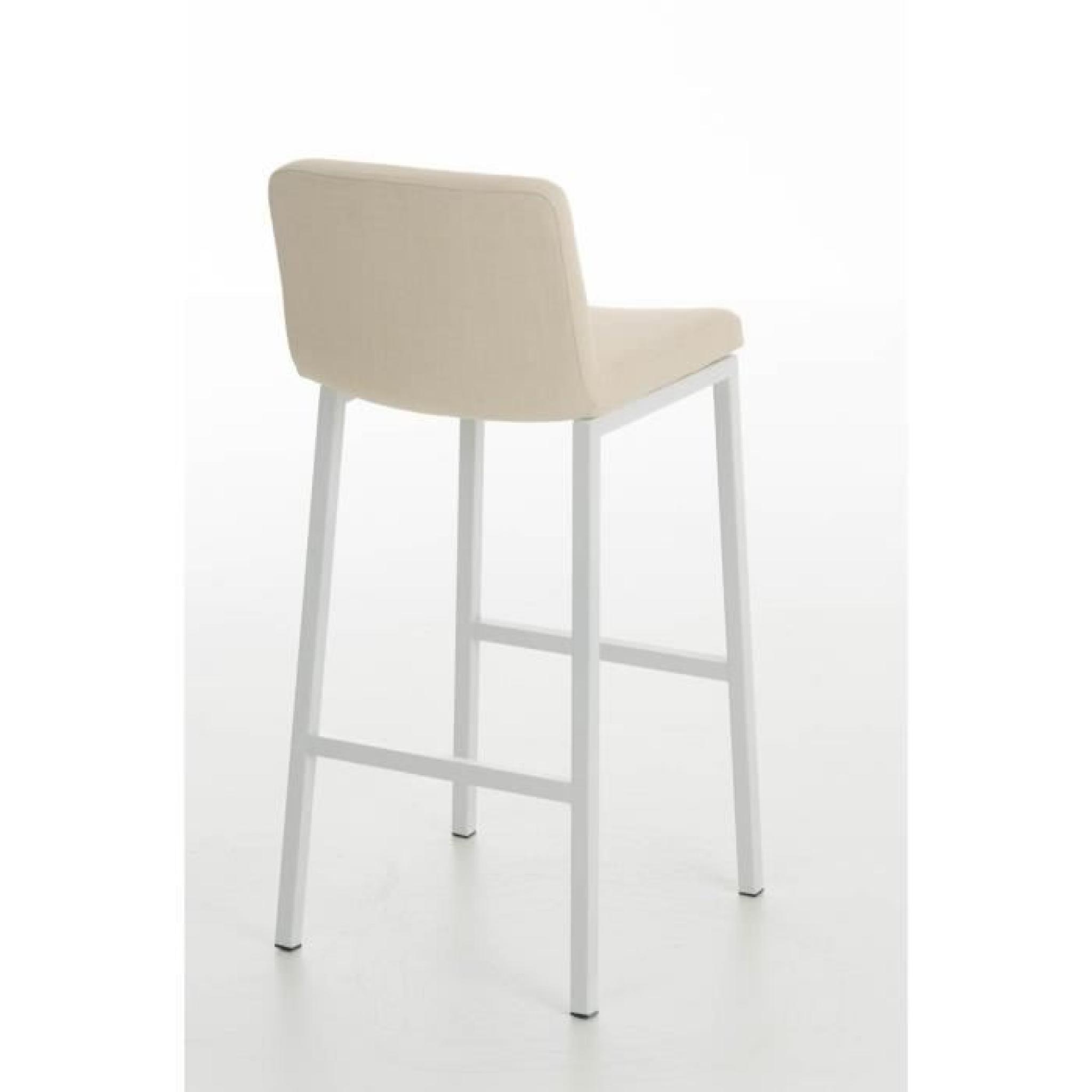CLP Tabouret de bar en métal blanc VAGOS W77 - Confortable et ...
