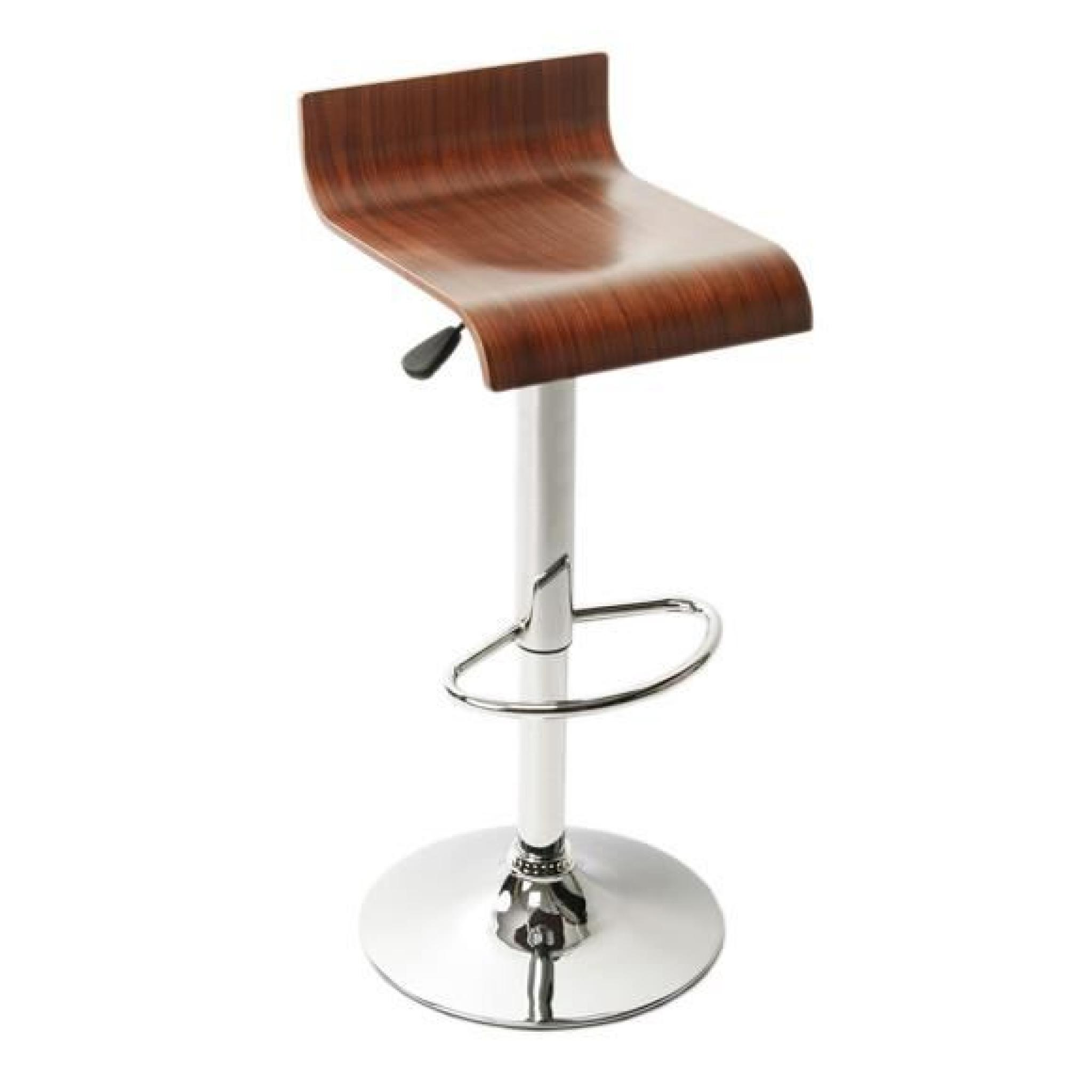 Clp tabouret de bar wood chrome bross avec si ge en bois r glable en hauteur 69 91 cm for Tabouret bar couleur