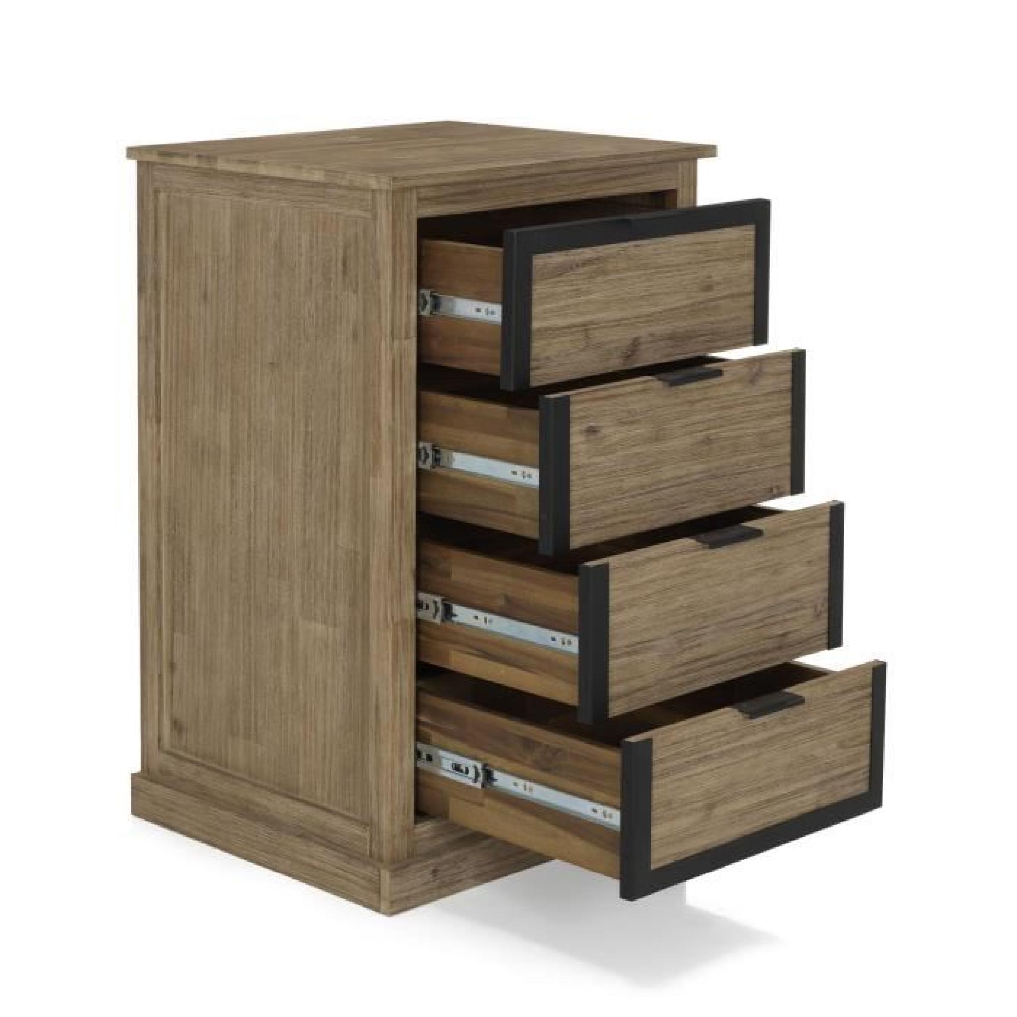 cocto chiffonnier 4 tiroirs style industriel achat vente commode pas cher couleur et. Black Bedroom Furniture Sets. Home Design Ideas
