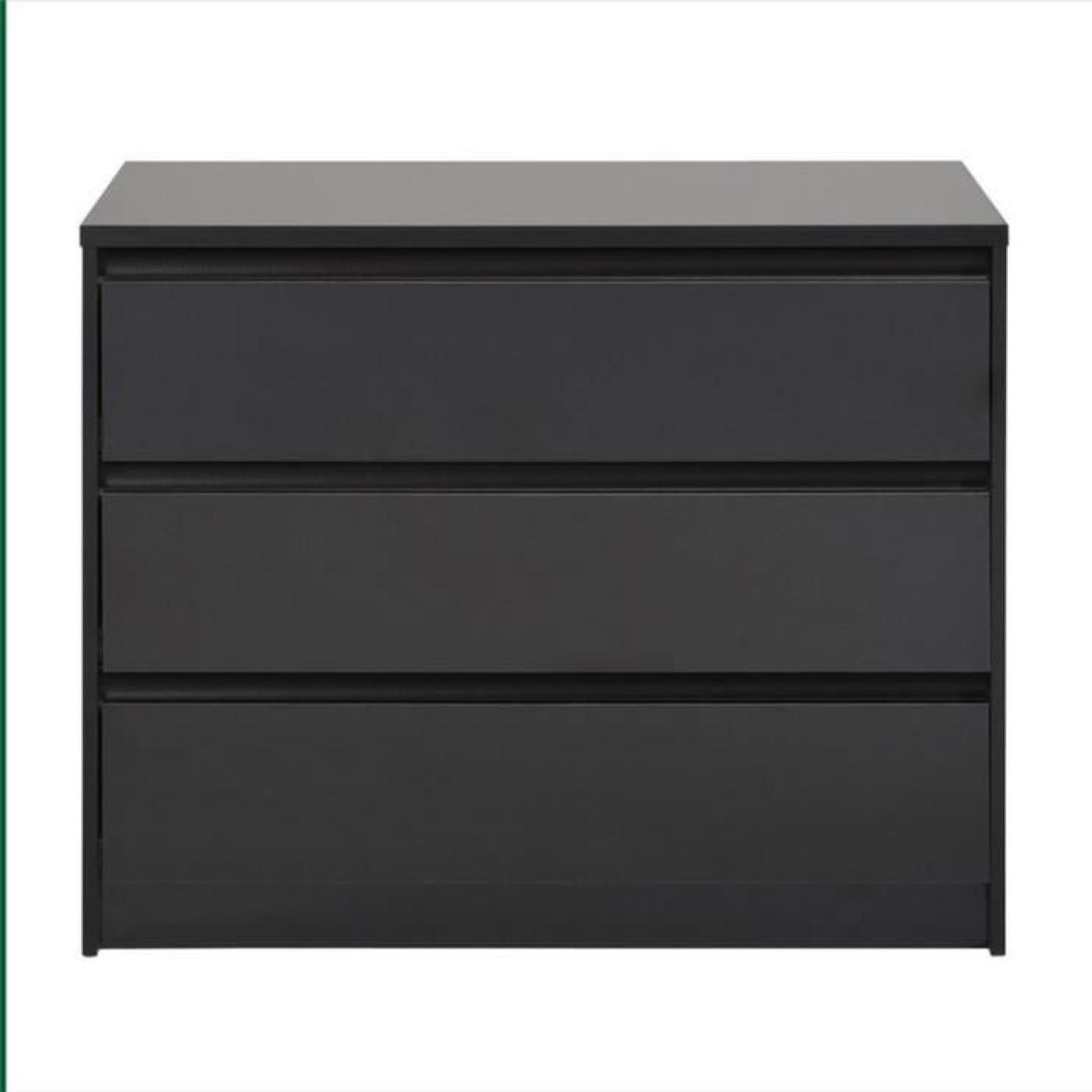 commode 3 tiroirs maxime noir paris prix achat vente. Black Bedroom Furniture Sets. Home Design Ideas
