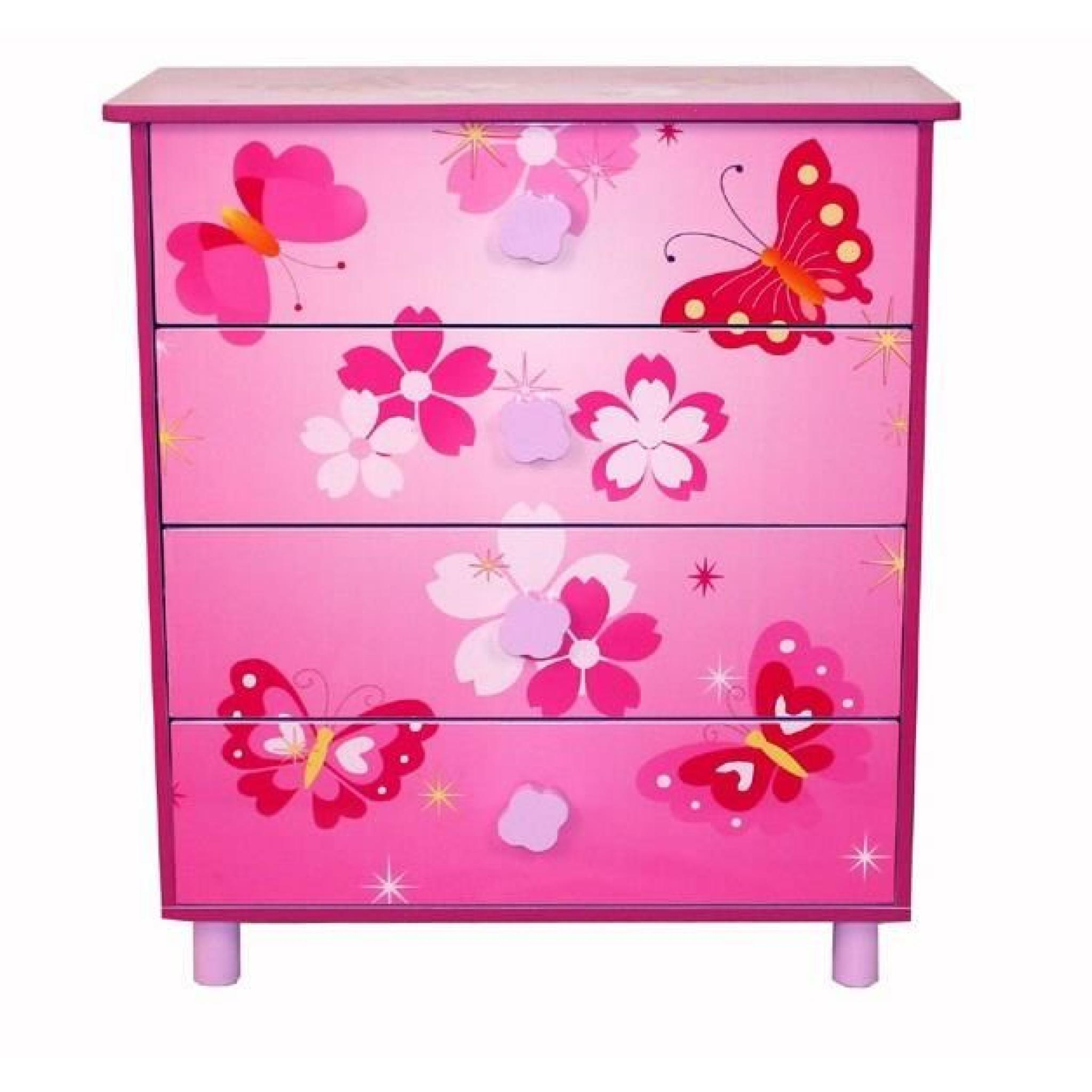 commode 4 tiroirs chambre enfant motif papillon rose achat vente commode pas cher couleur et. Black Bedroom Furniture Sets. Home Design Ideas