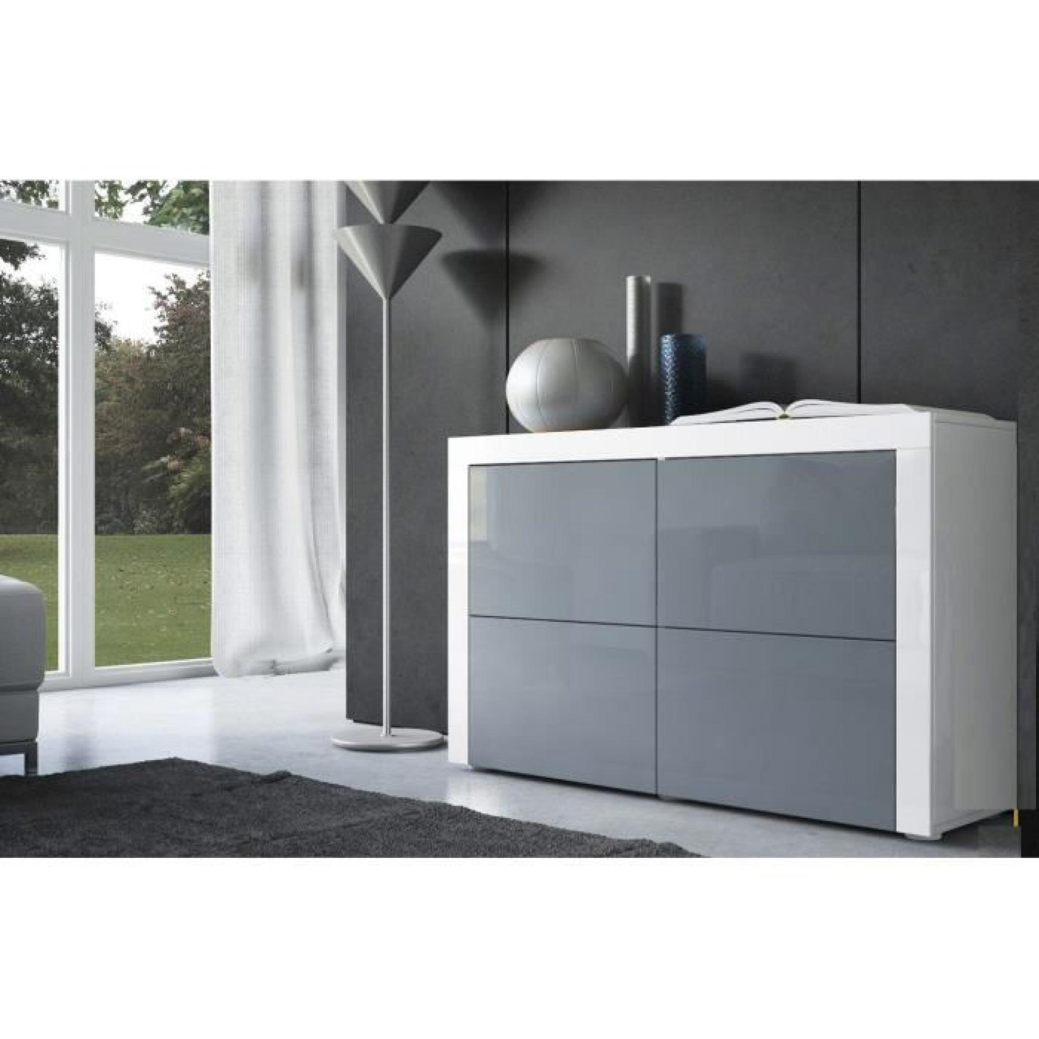 commode blanche et grise 110cm achat vente commode pas cher couleur et. Black Bedroom Furniture Sets. Home Design Ideas