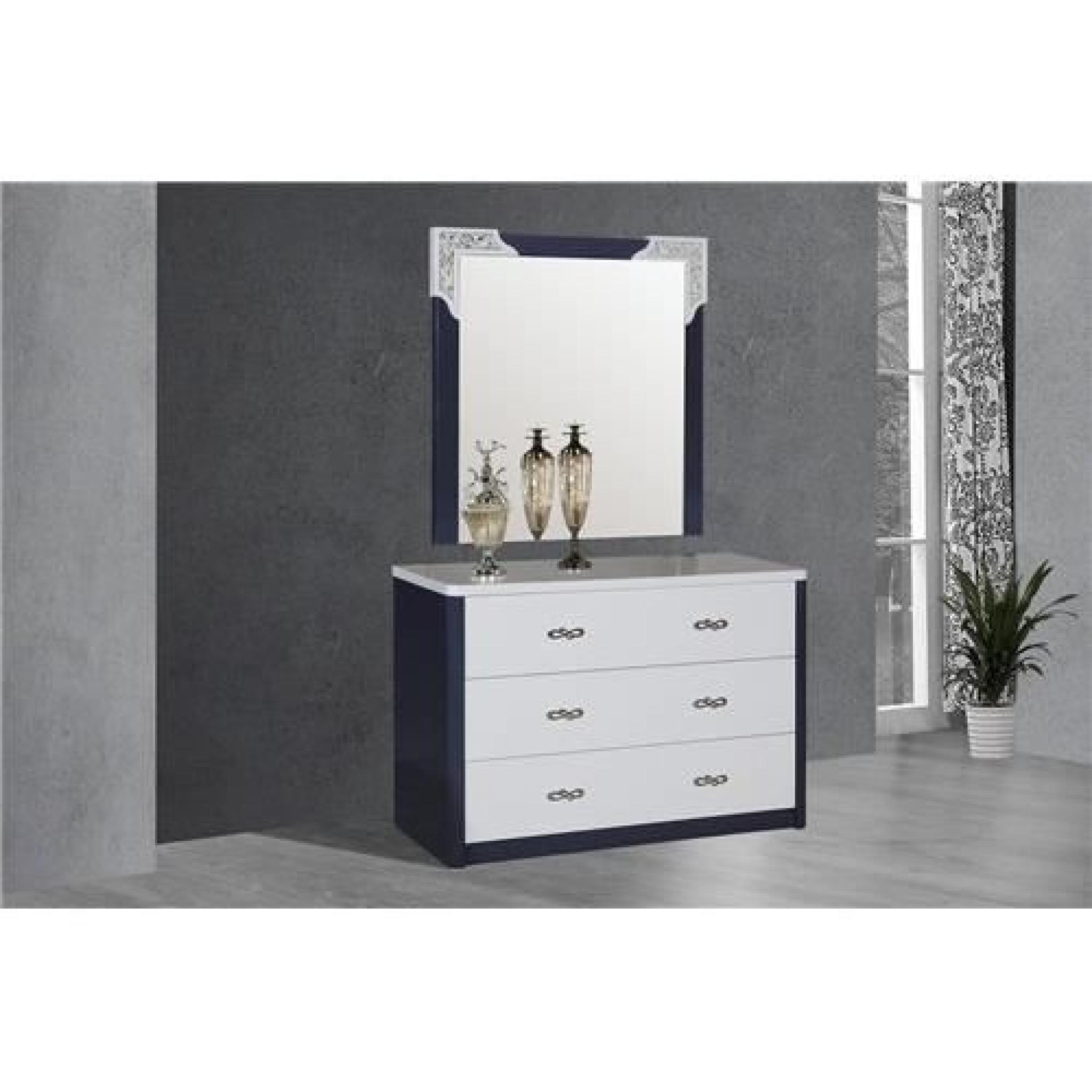 Commode design anthony avec miroir - gris et blanc - Achat/Vente ...