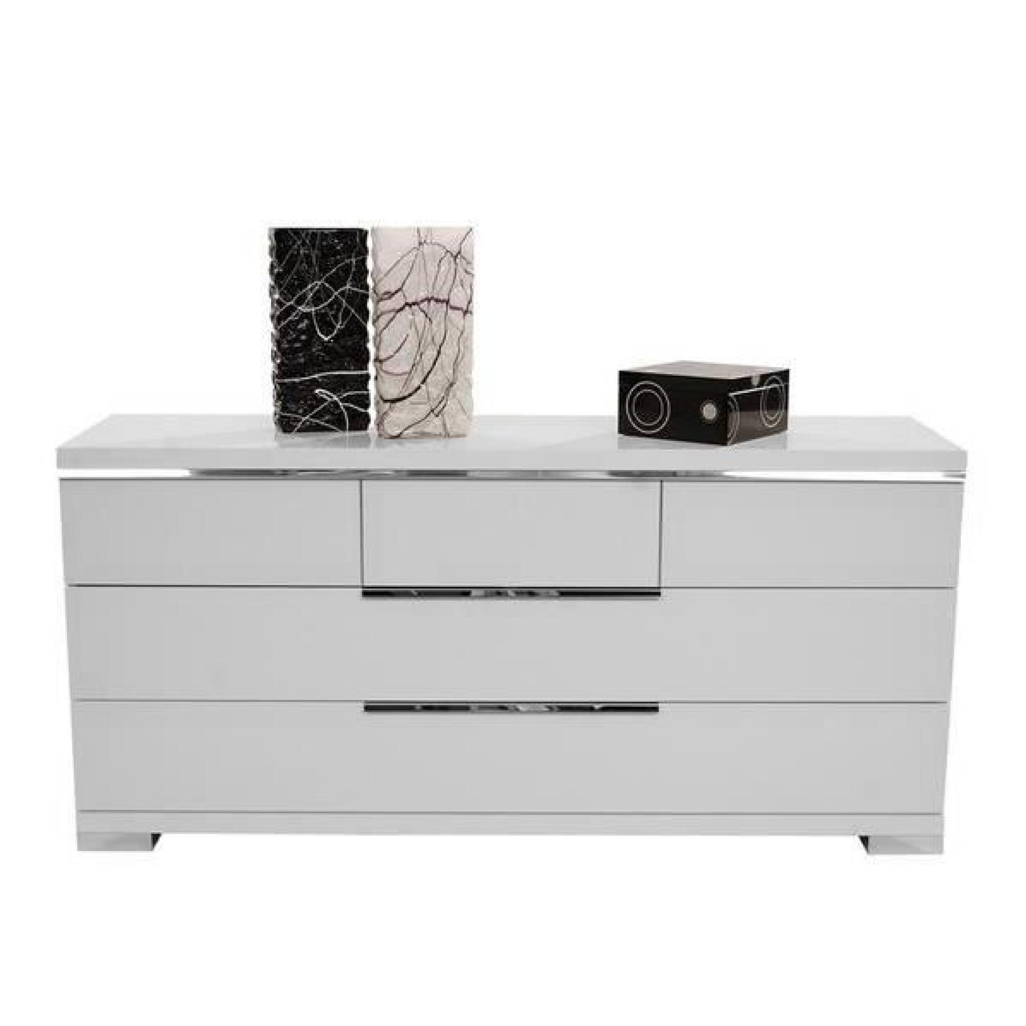 commode glossy blanc 6 tiroirs achat vente commode pas cher couleur et. Black Bedroom Furniture Sets. Home Design Ideas