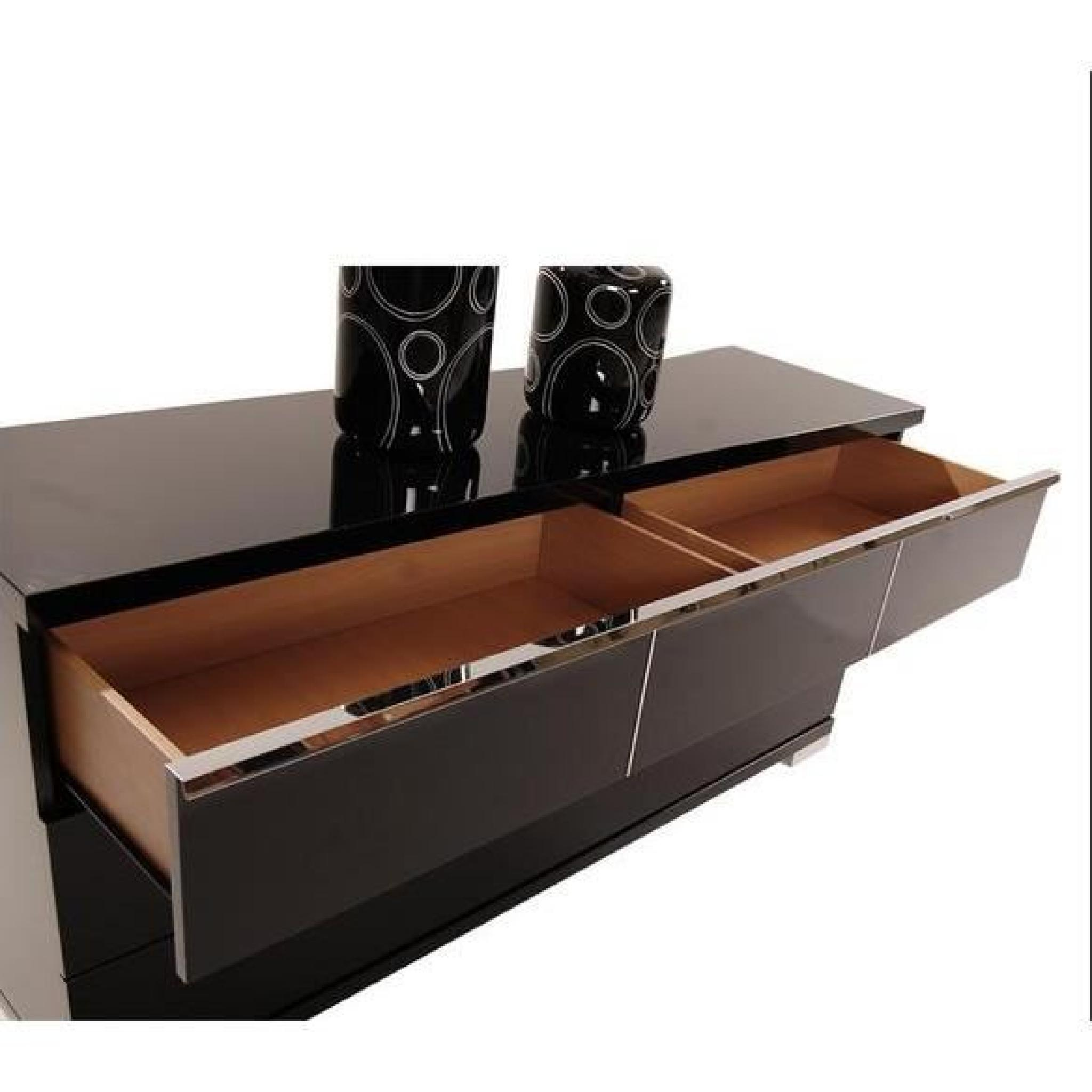 Commode Glossy Noir 6 Tiroirs Achat Vente Commode Pas Cher