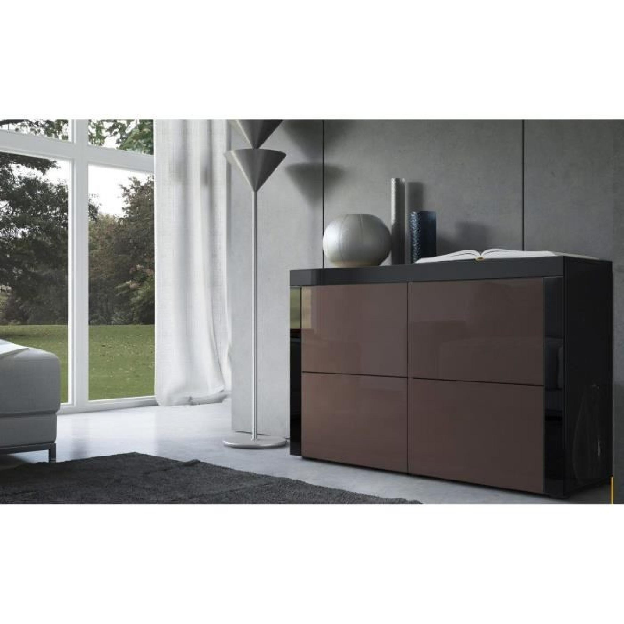commode laqu e noir et chocolat achat vente commode pas cher couleur et. Black Bedroom Furniture Sets. Home Design Ideas