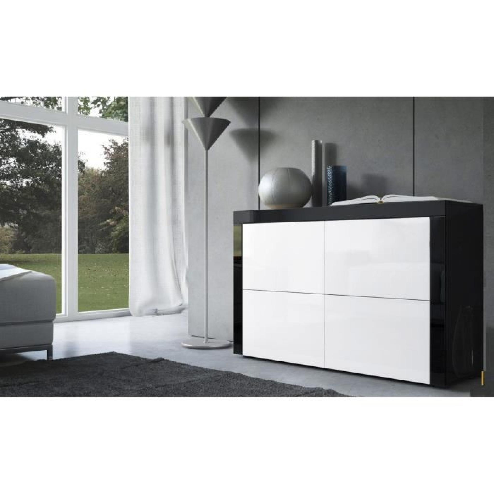 commode noire et blanc 110cm achat vente buffet pas cher couleur et. Black Bedroom Furniture Sets. Home Design Ideas