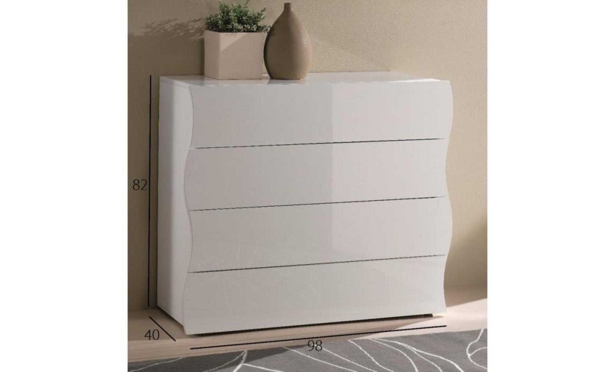 commode onda 4 tiroirs blanc brillant achat vente. Black Bedroom Furniture Sets. Home Design Ideas