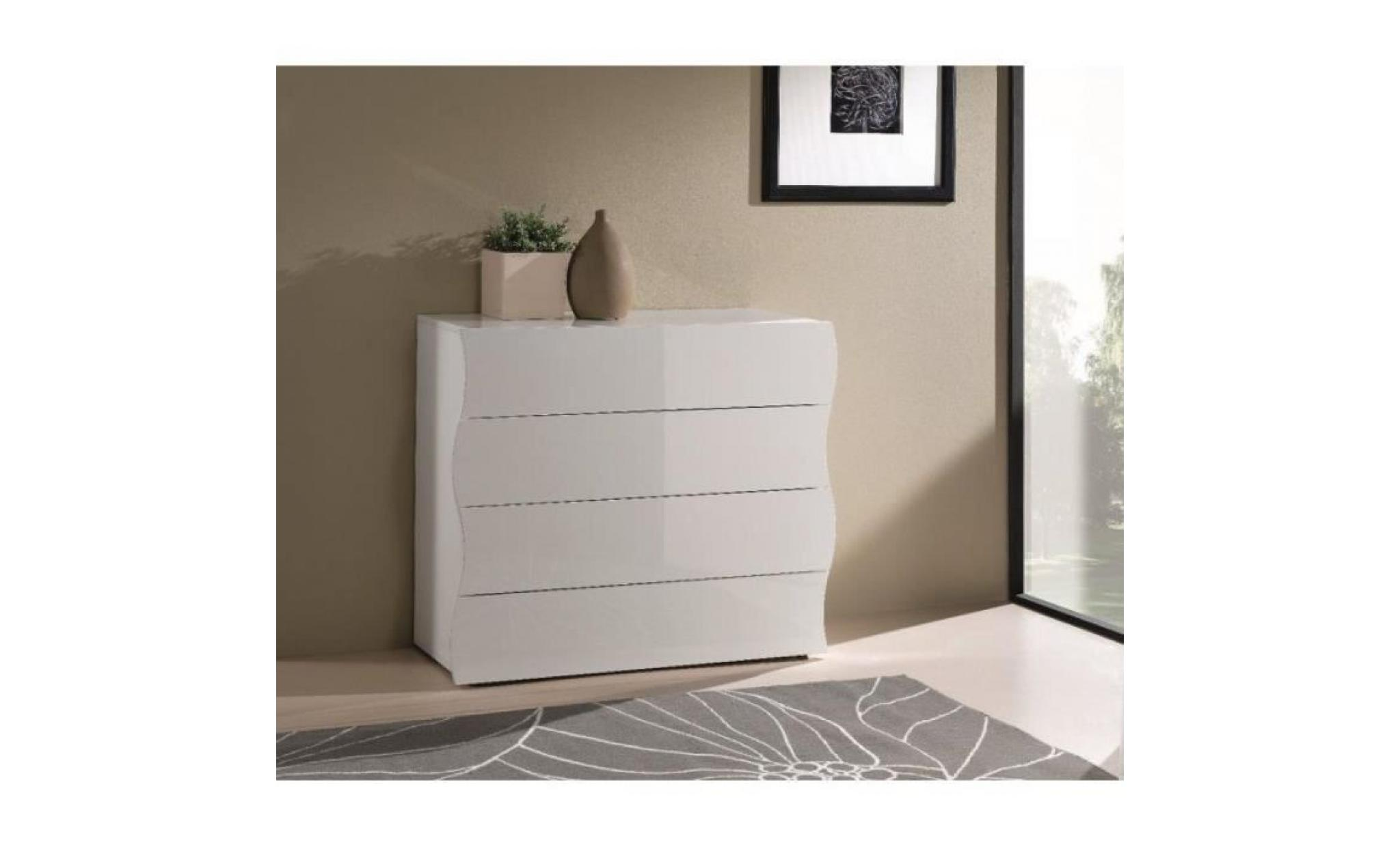 commode onda 4 tiroirs blanc brillant achat vente commode pas cher couleur et. Black Bedroom Furniture Sets. Home Design Ideas