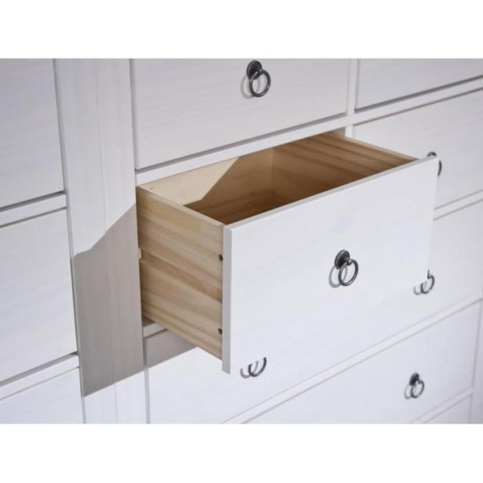 Commode provence blanche 7 tiroirs en pin massif achat - Commode tiroir pas cher ...