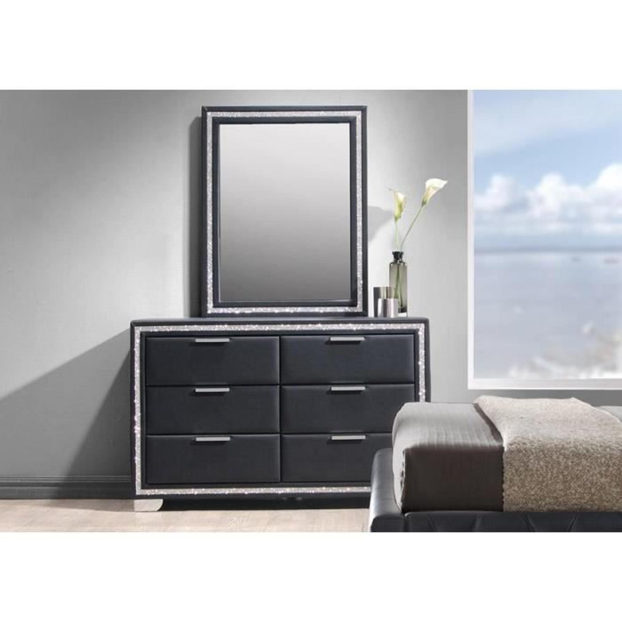 commode simili noir 6 tiroirs avec miroir cladis achat vente commode pas cher couleur et. Black Bedroom Furniture Sets. Home Design Ideas
