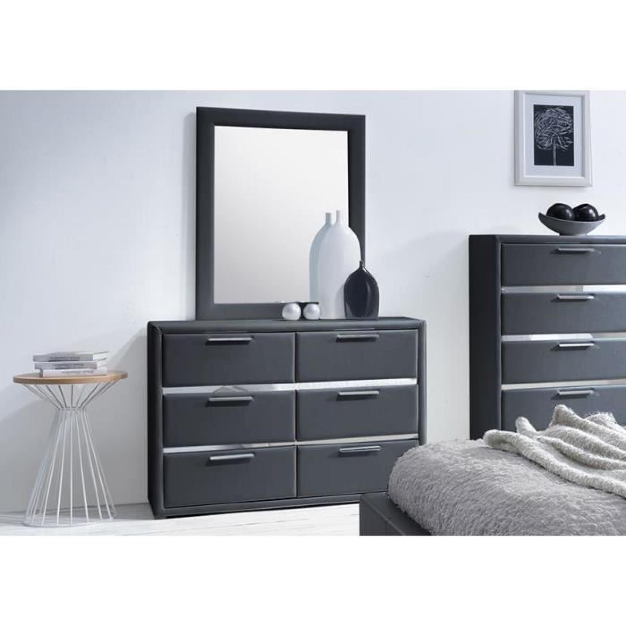 commode simili noir 6 tiroirs avec miroir exia achat. Black Bedroom Furniture Sets. Home Design Ideas